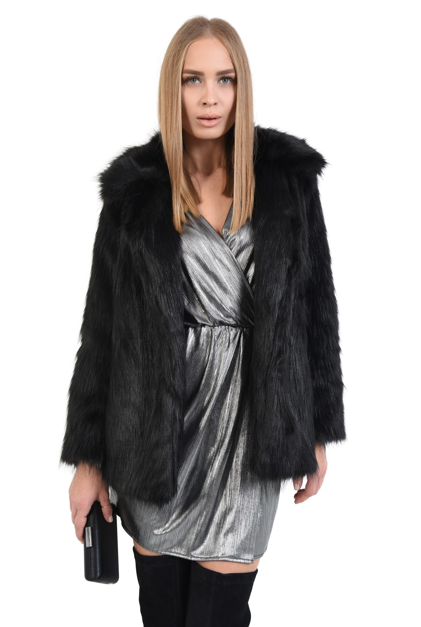 jacheta din blana artificiala, croi drept, jacheta dama, haina blana online