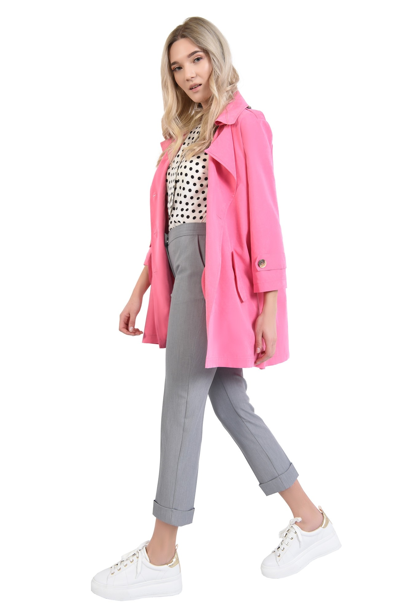 jacheta roz, cu nasturi, cu revere, croi relaxat