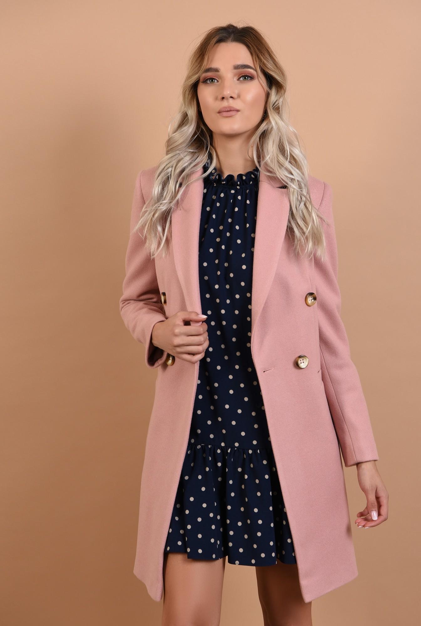 palton roz, cu nasturi decorativi, revere crestate, Poema