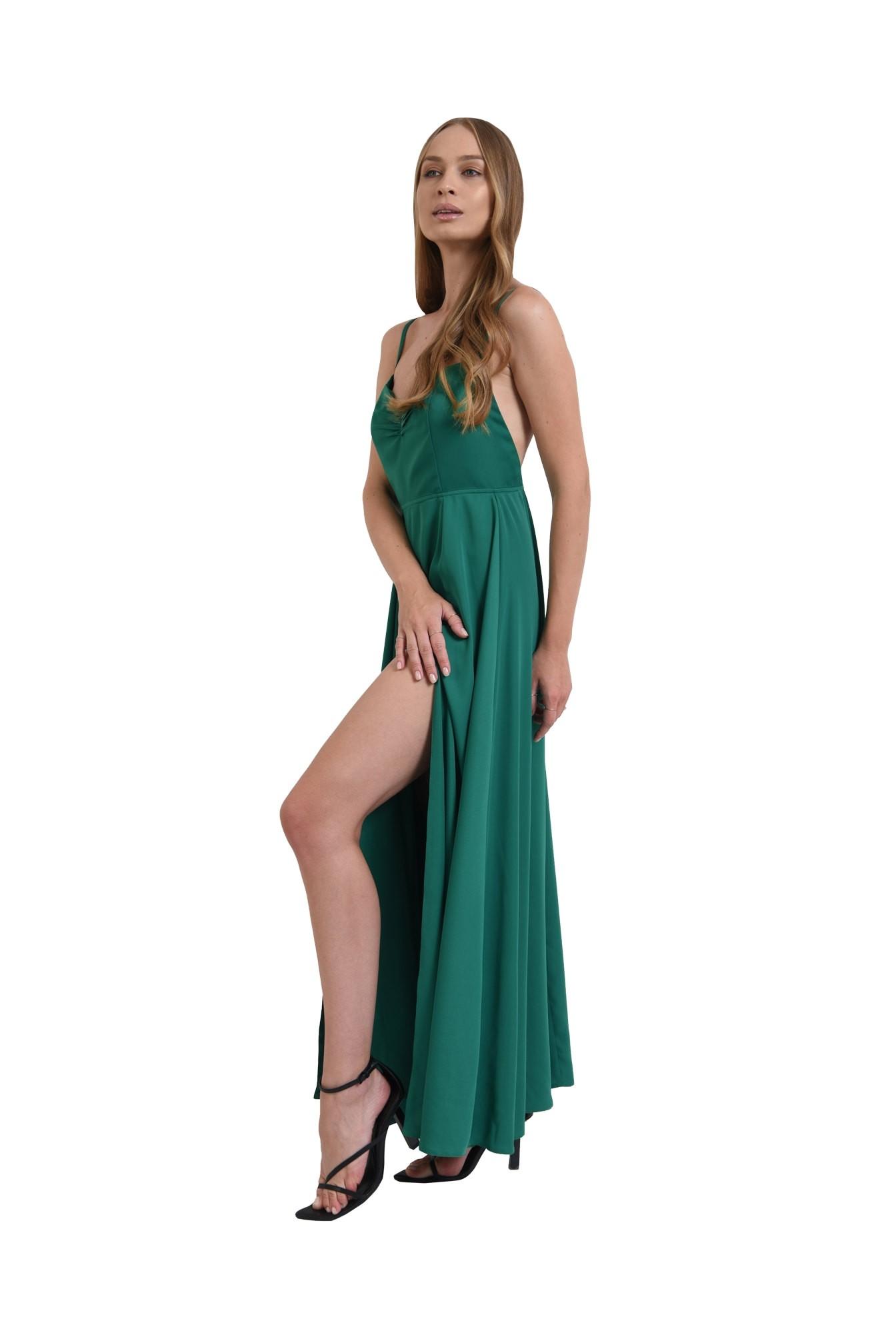 rochie verde, cu spatele decoltat, Poema