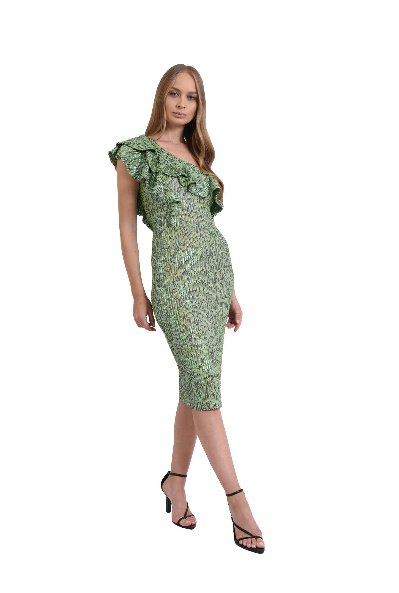 rochie verde, midi, cu paiete
