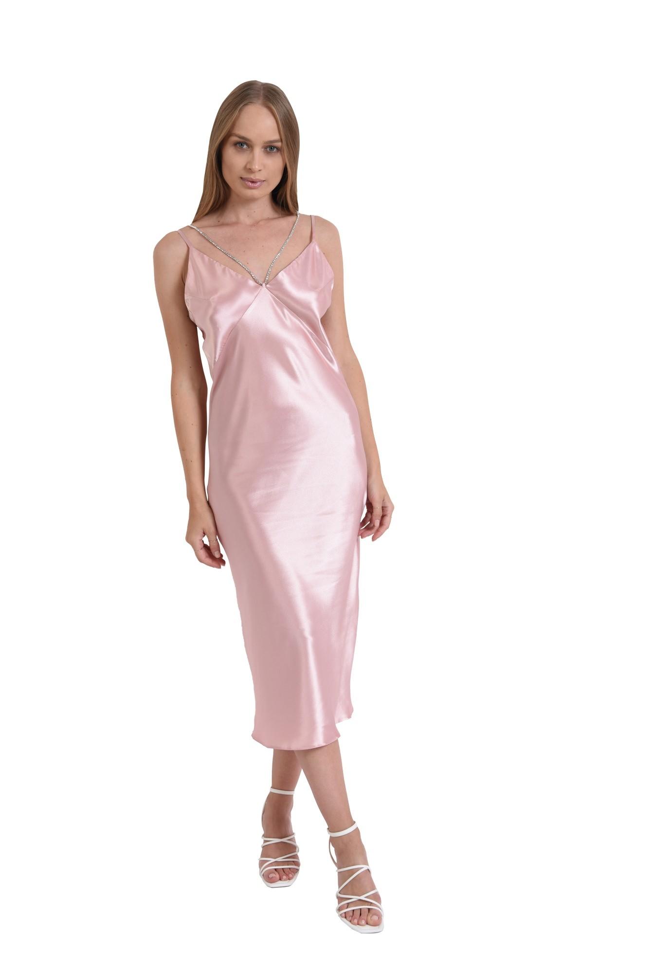 rochie midi, cu bretele, cu detaliu din strasuri