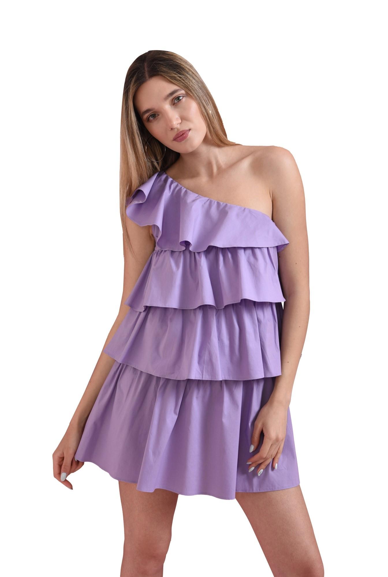 rochie scurta, lila, cu volane suprapuse