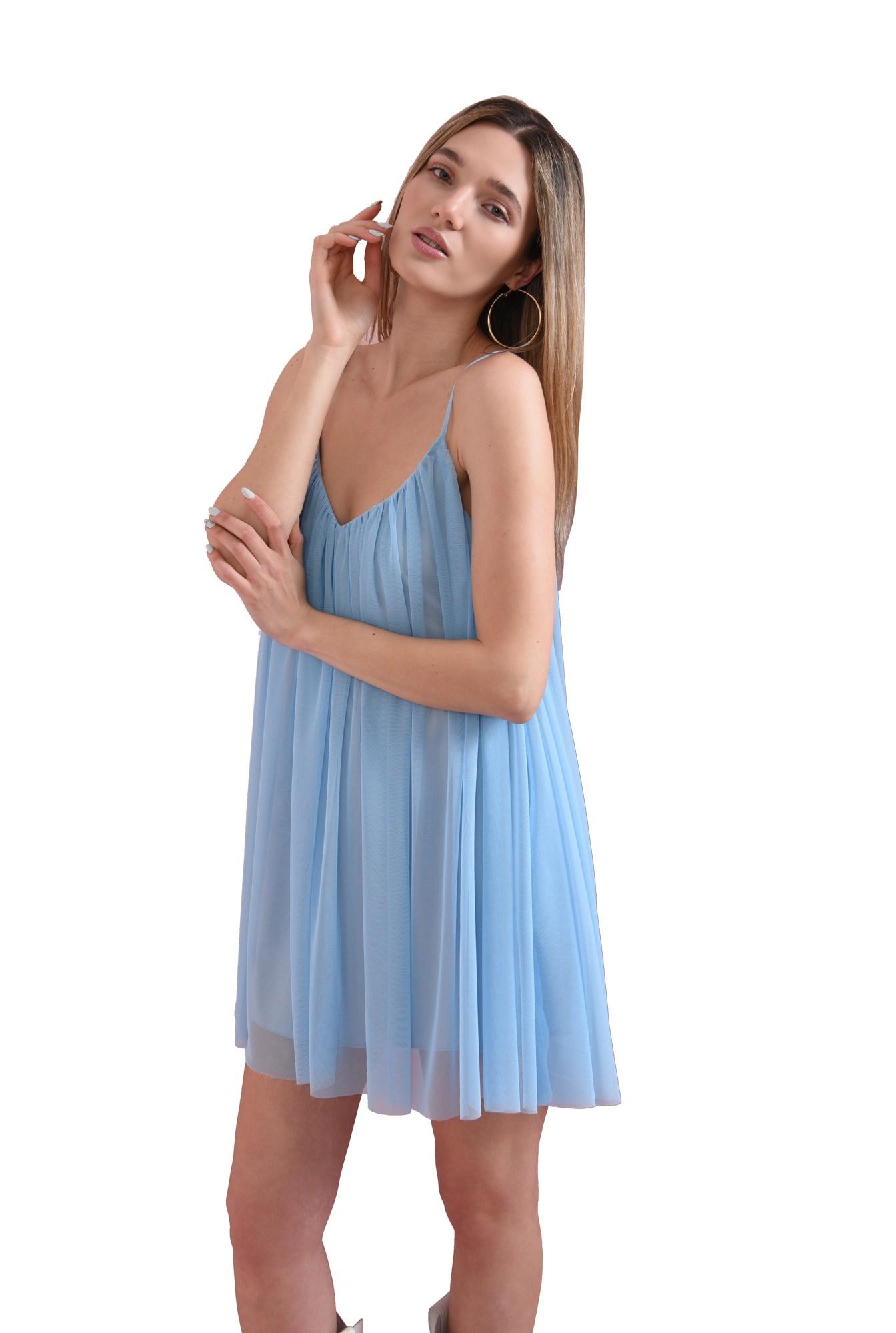 rochie scurta, bleu, din tul