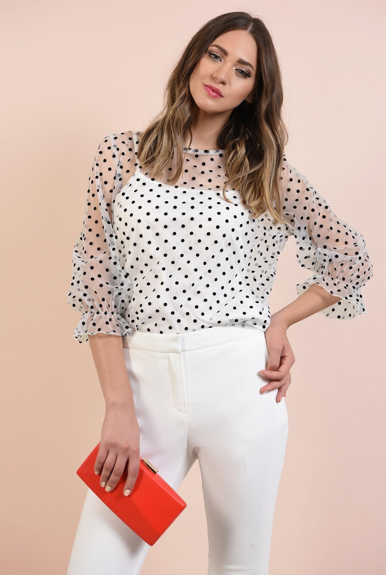 bluza de seara, transparenta, cu print, decolteu rotund la baza gatului
