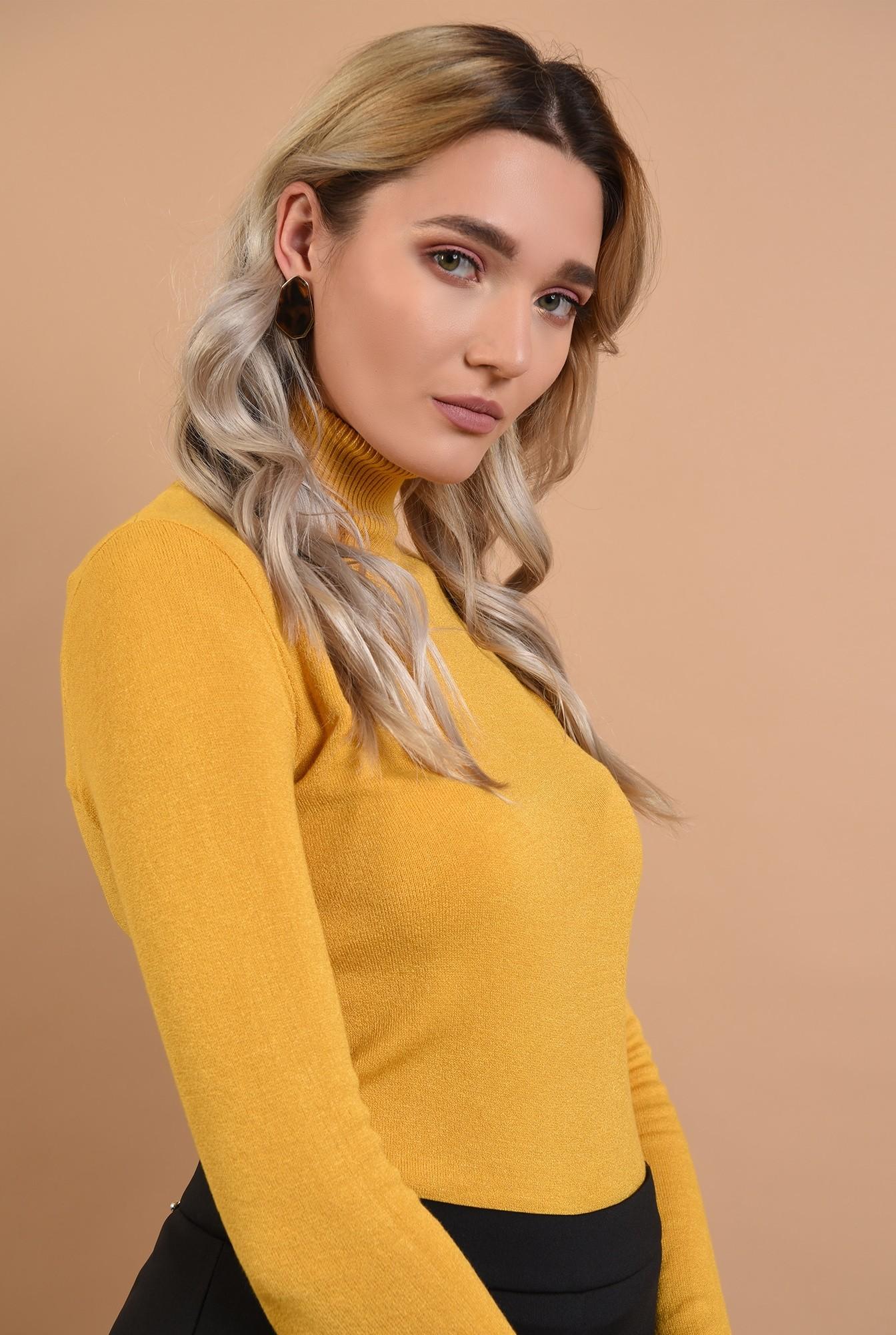 pulover mustar, casual, galben, Poema, maleta cu guler reiat