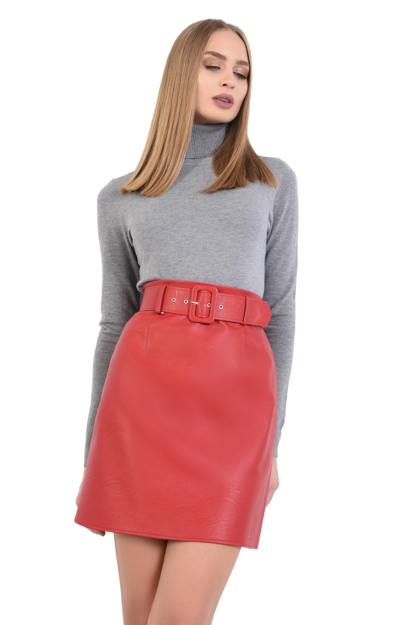 pulover tip maleta, gri, borduri reiate, guler inalt, bluza tricotata