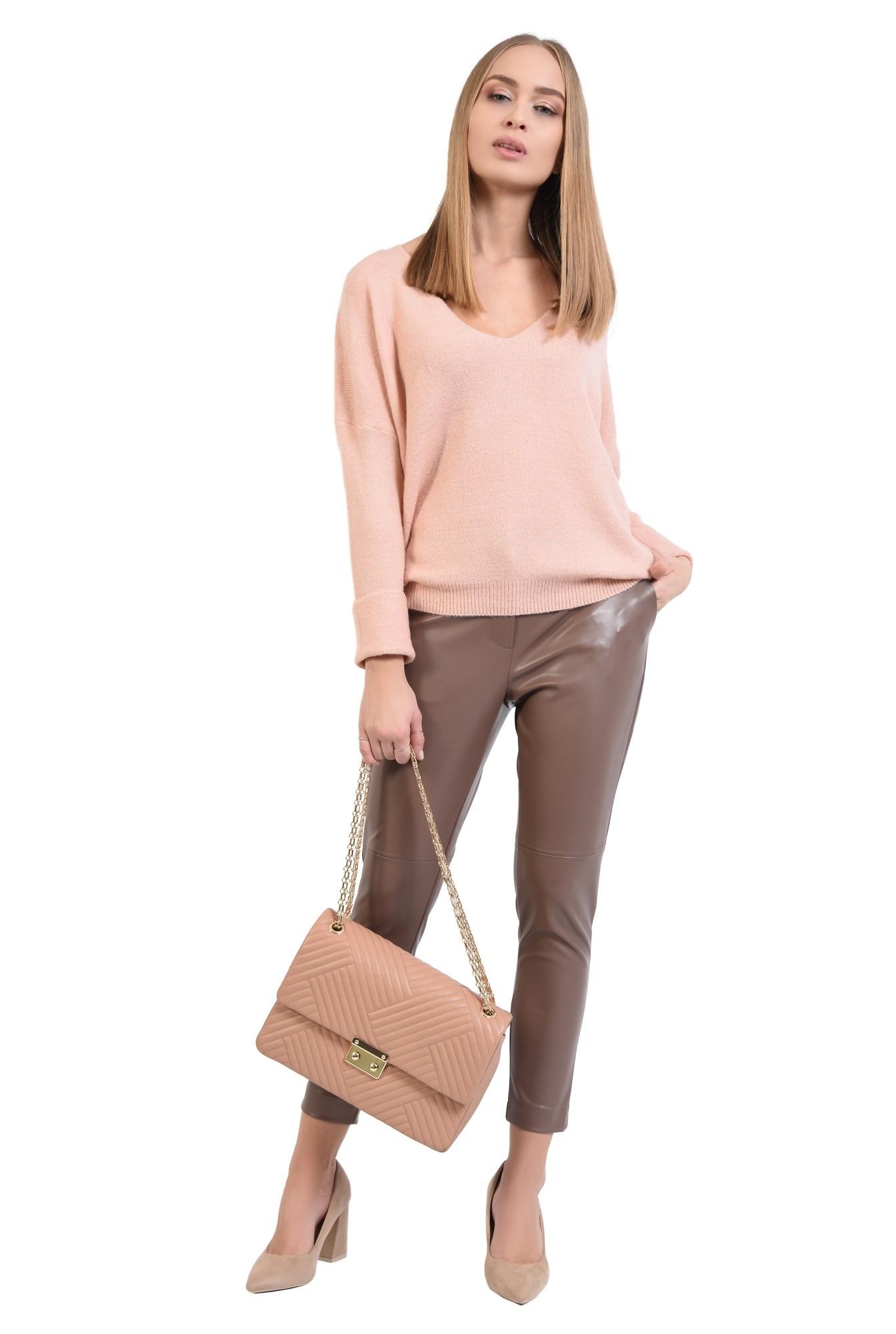 360 - pulover dama, online, tricotaje, roz, bordura reiata