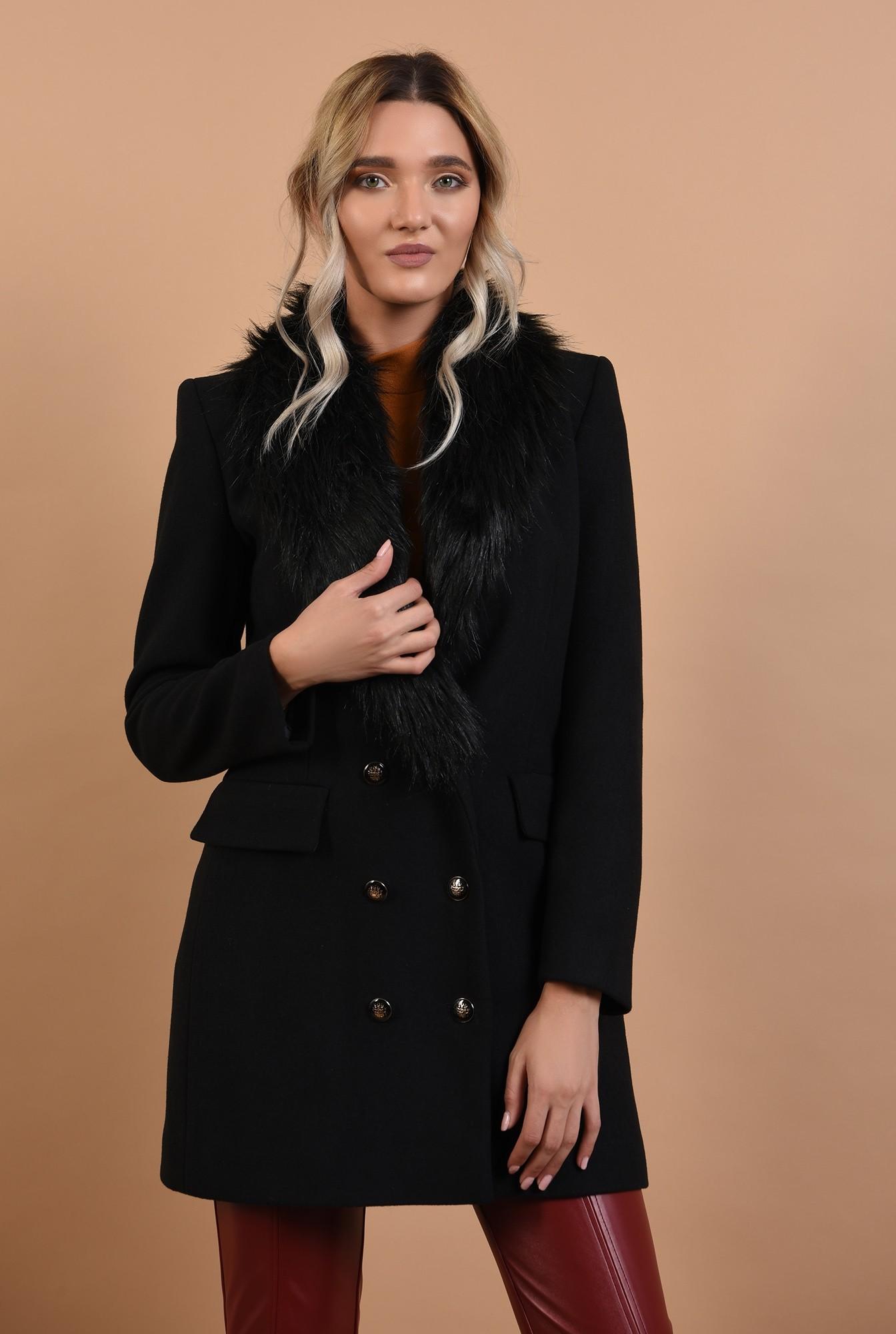 palton cu blana, midi, negru, nasturi, Poema