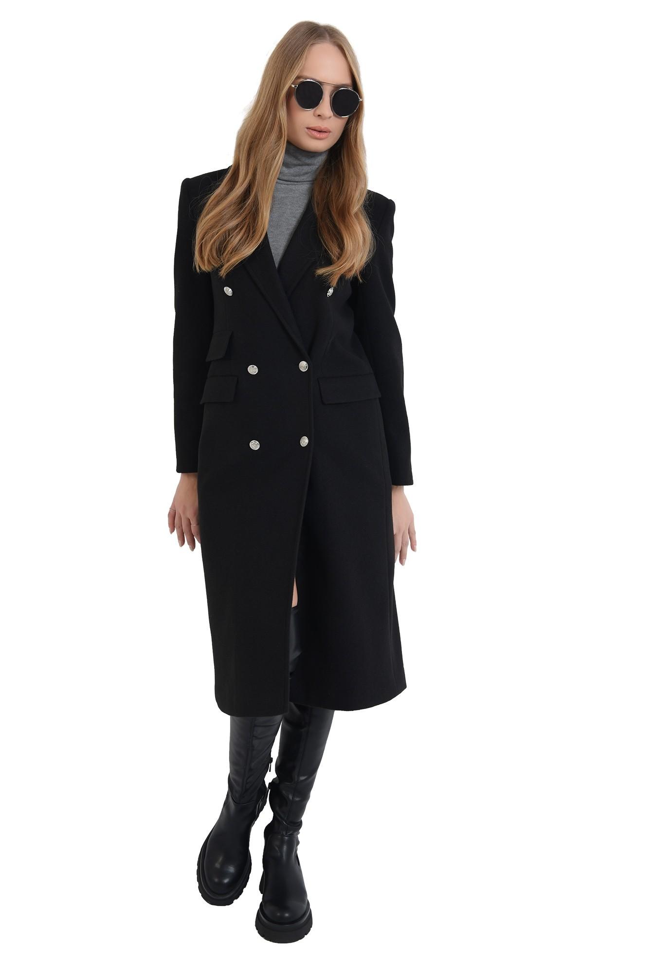 palton negru, midi, cu revere