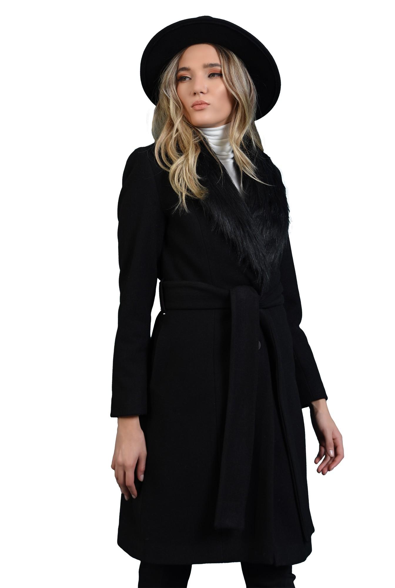 palton cu cordon, midi, negru,Poema