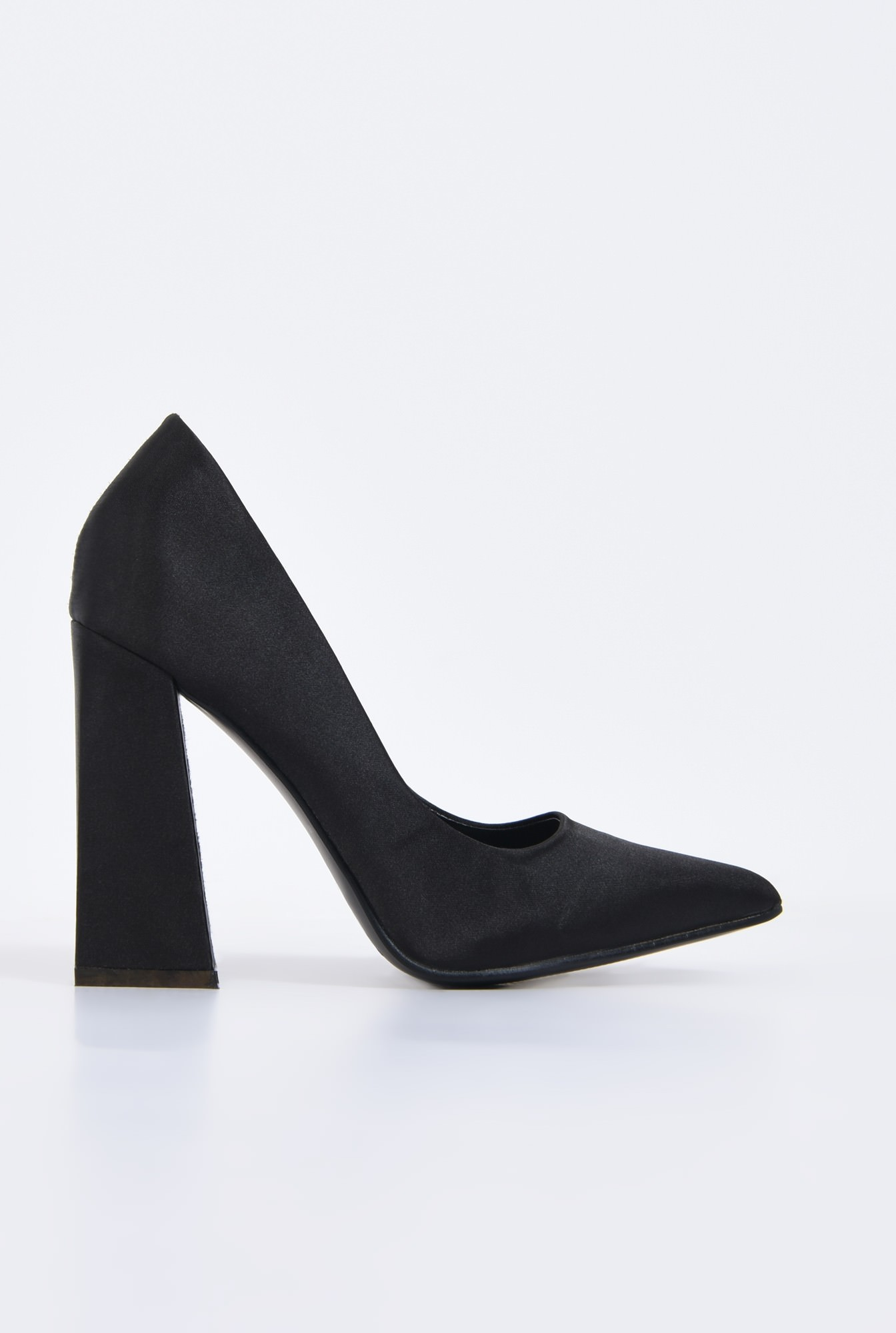 pantofi eleganti, negri, satin, toc inalt