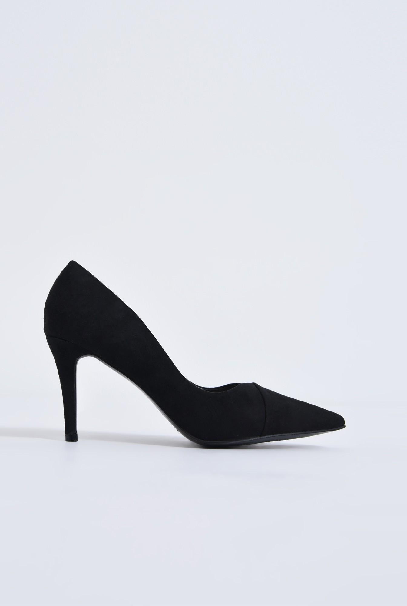 pantofi casual, negru, toc subtire