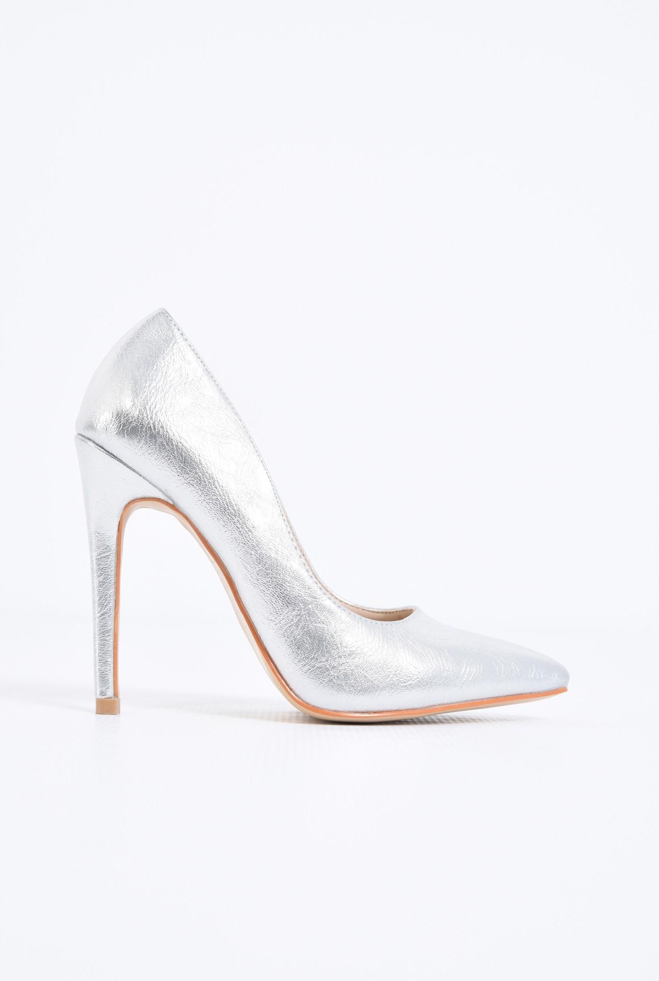 pantofi dama, stiletto, argintiu, metalic
