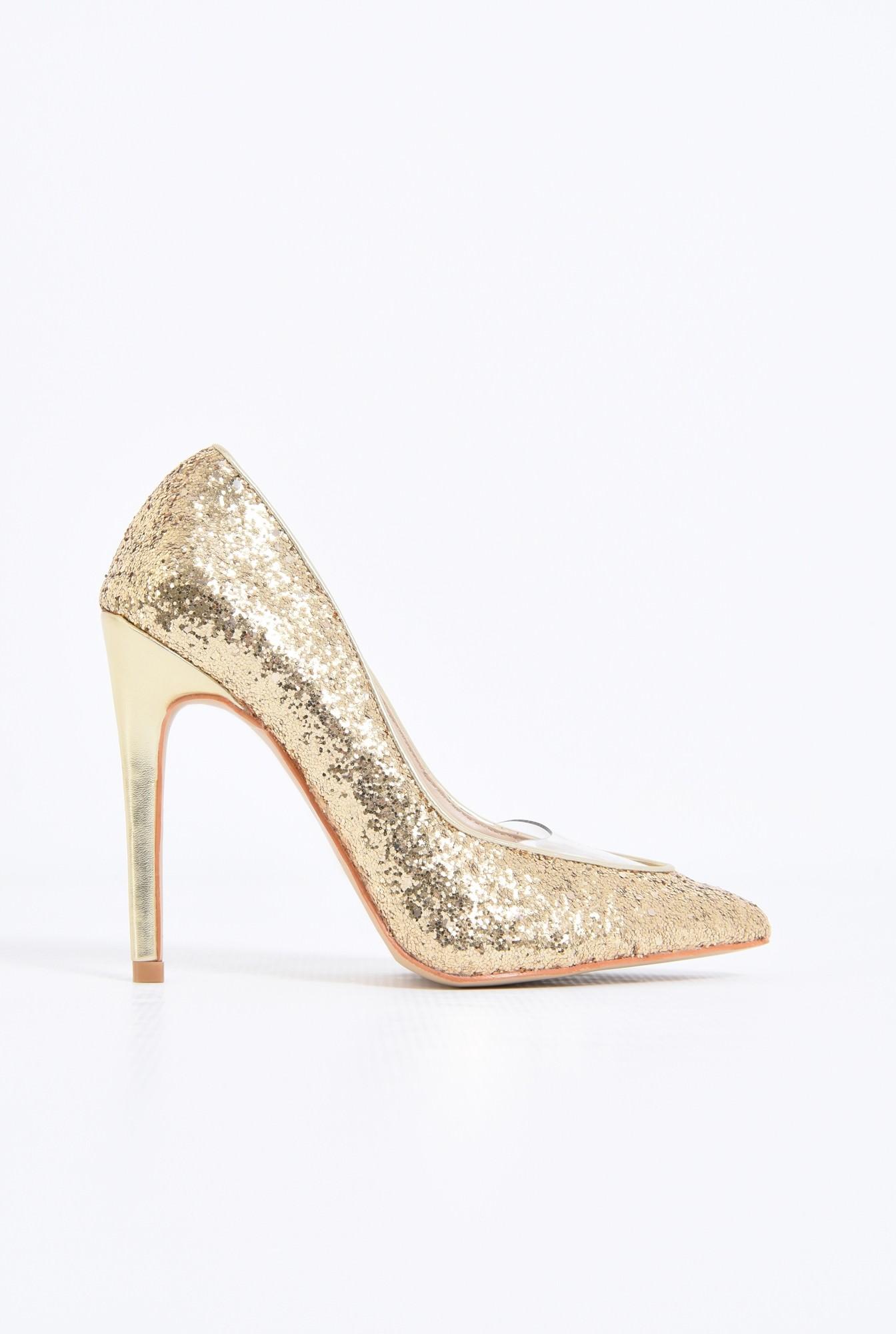 pantofi eleganti, auriu, stiletto, glitter