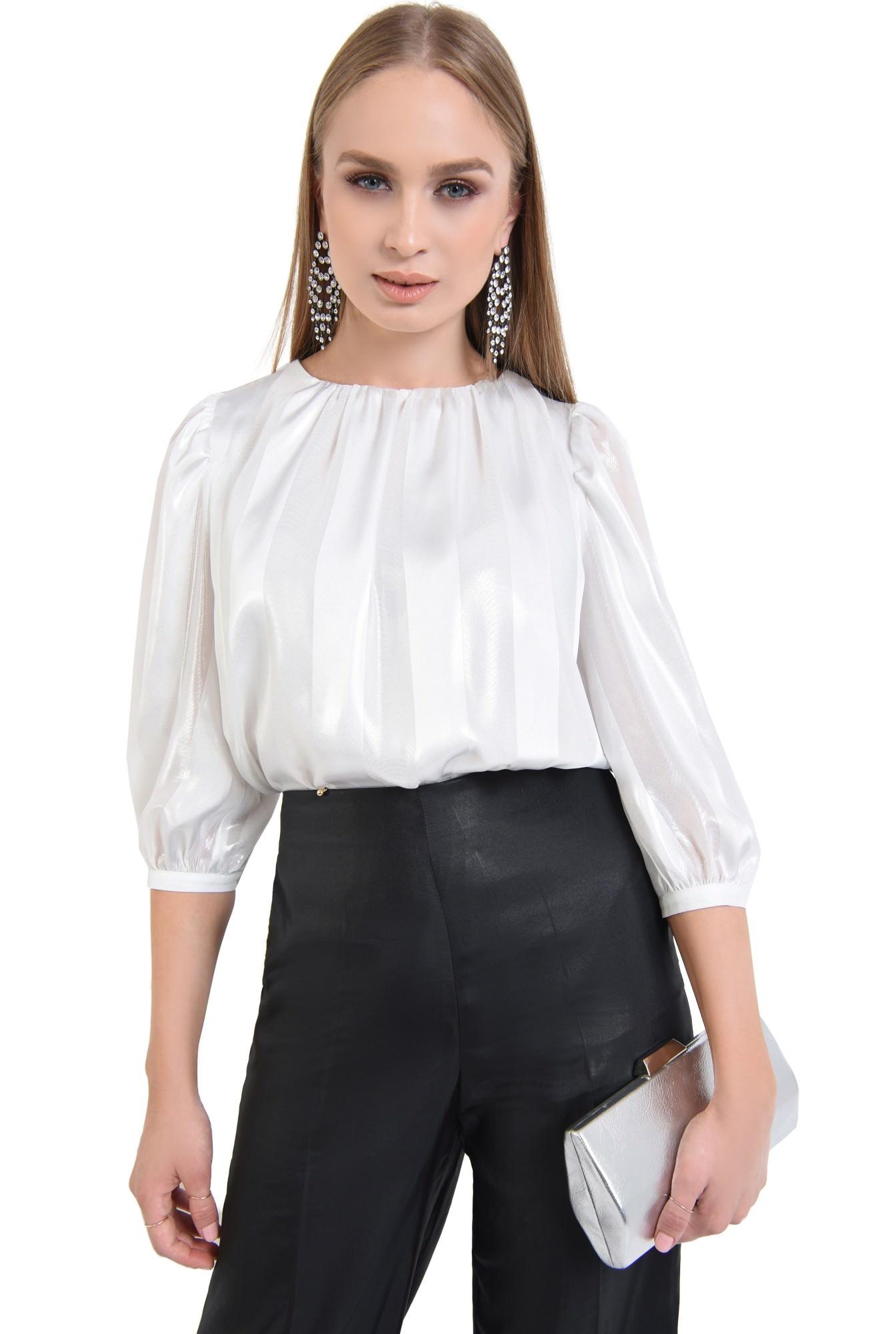 pantaloni eleganti, negri, cu aspect metalic