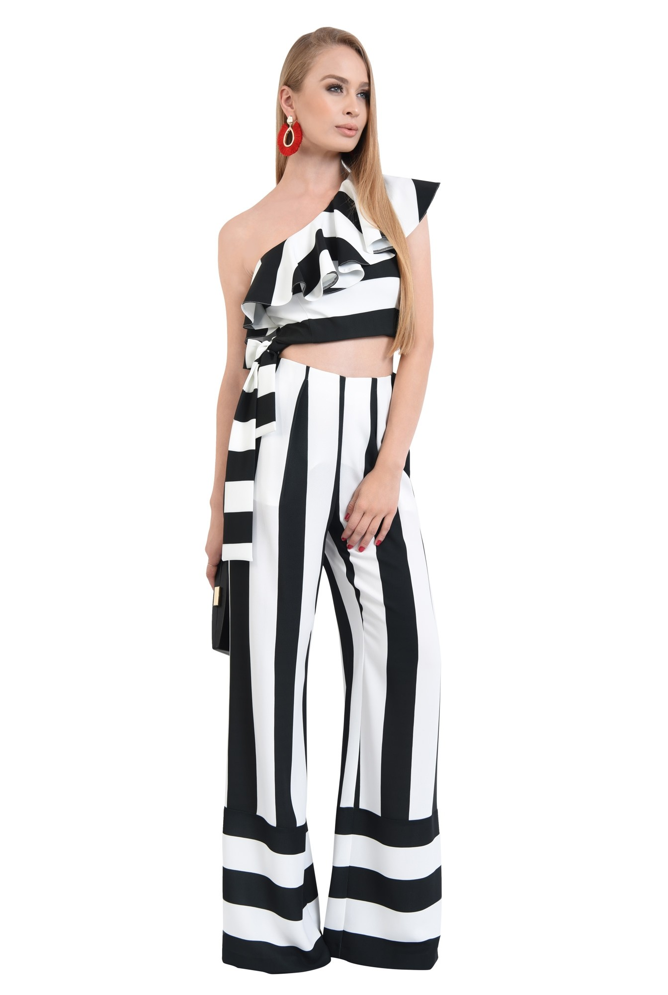 pantaloni eleganti, croi larg, imprimeu, dungi, alb-negru
