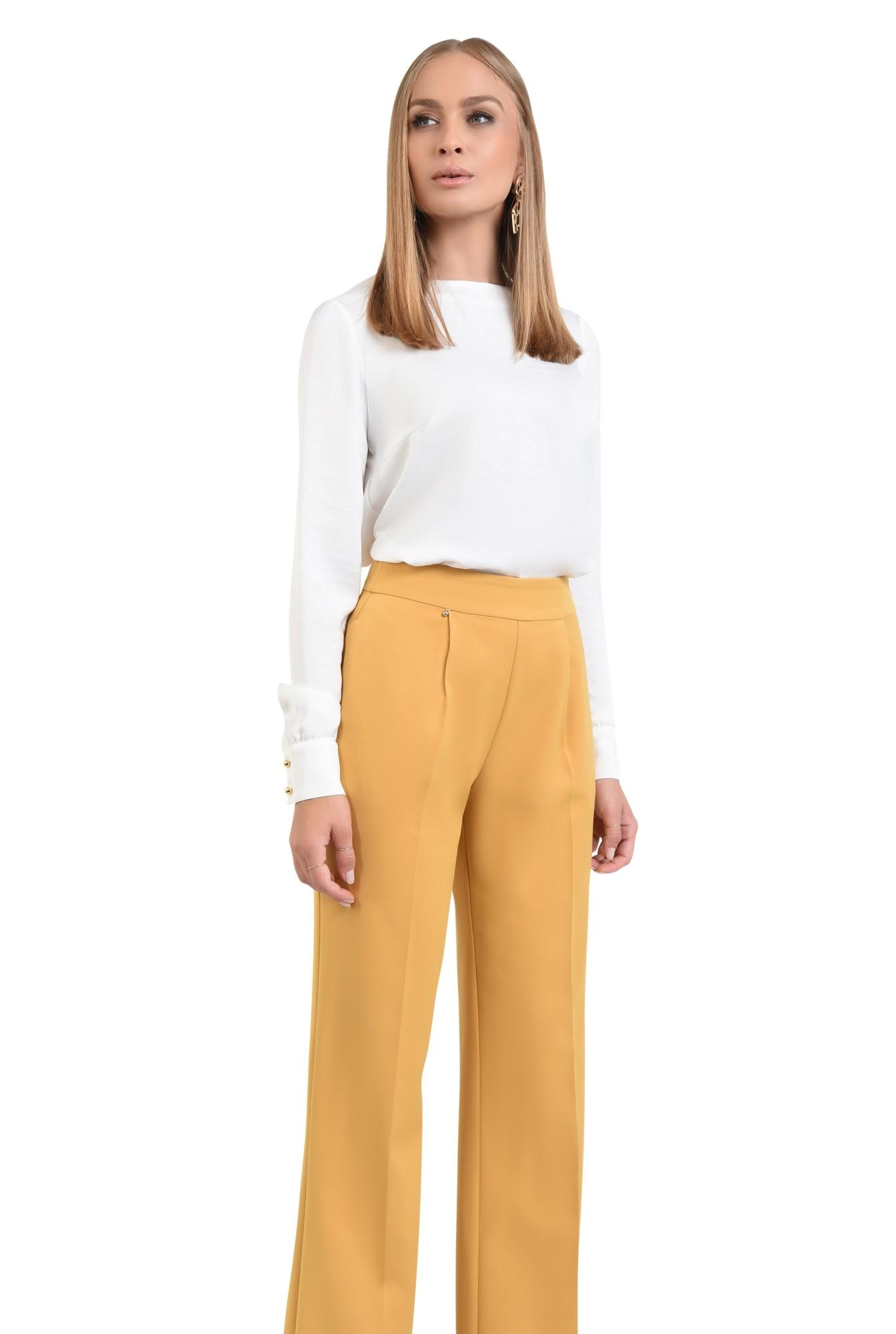 pantaloni casual mustar, pantaloni online, croi larg