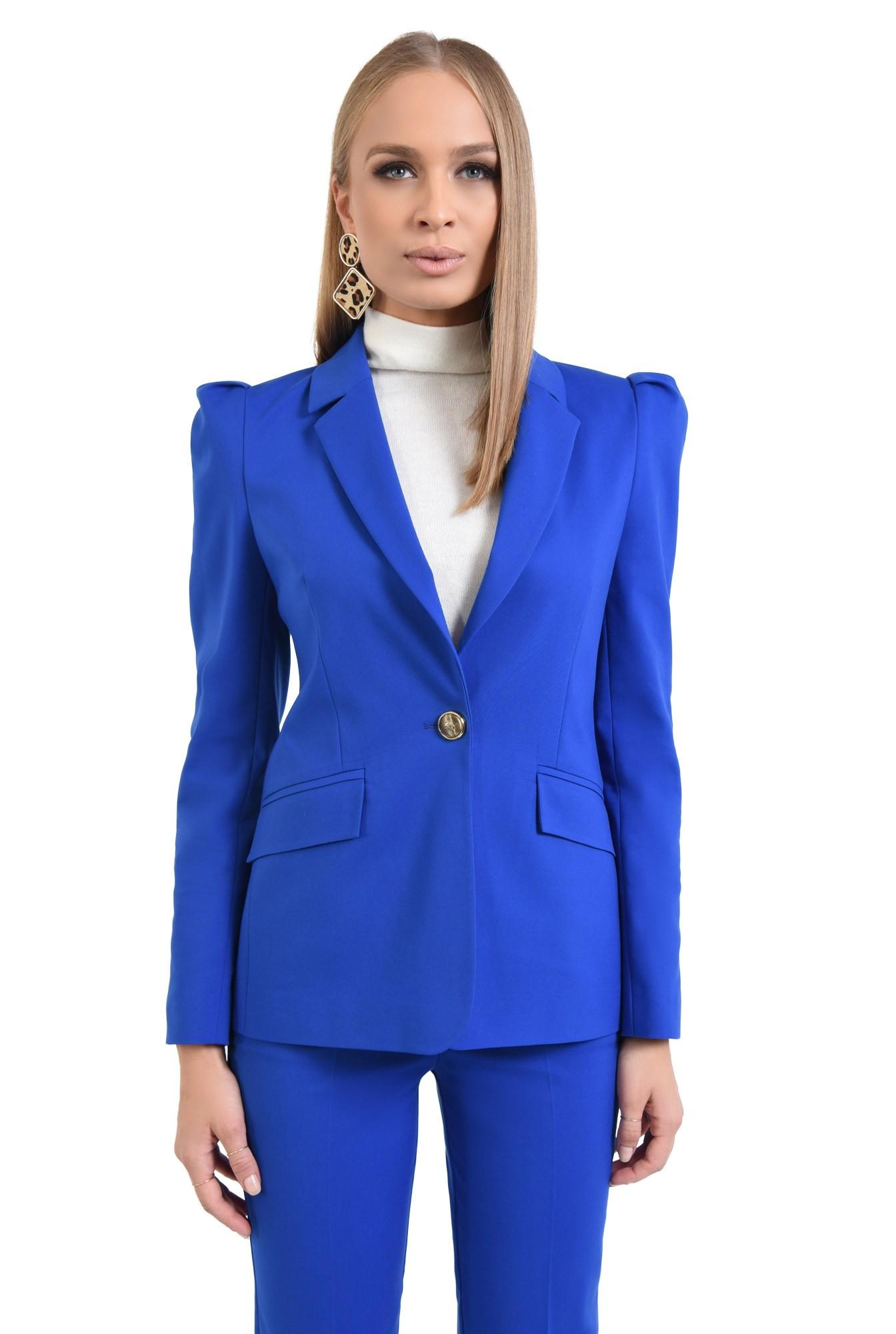 pantaloni dama, online, costum, albastru, croi conic