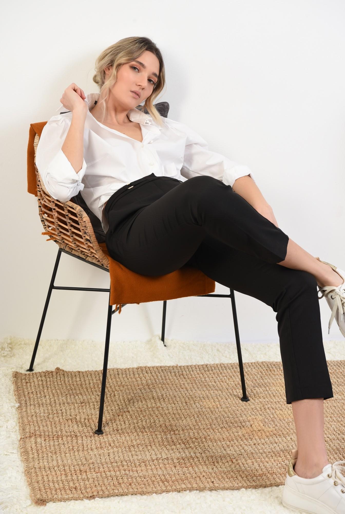 pantaloni conici, office, cu buzunare, talie medie, betelie cu detalii