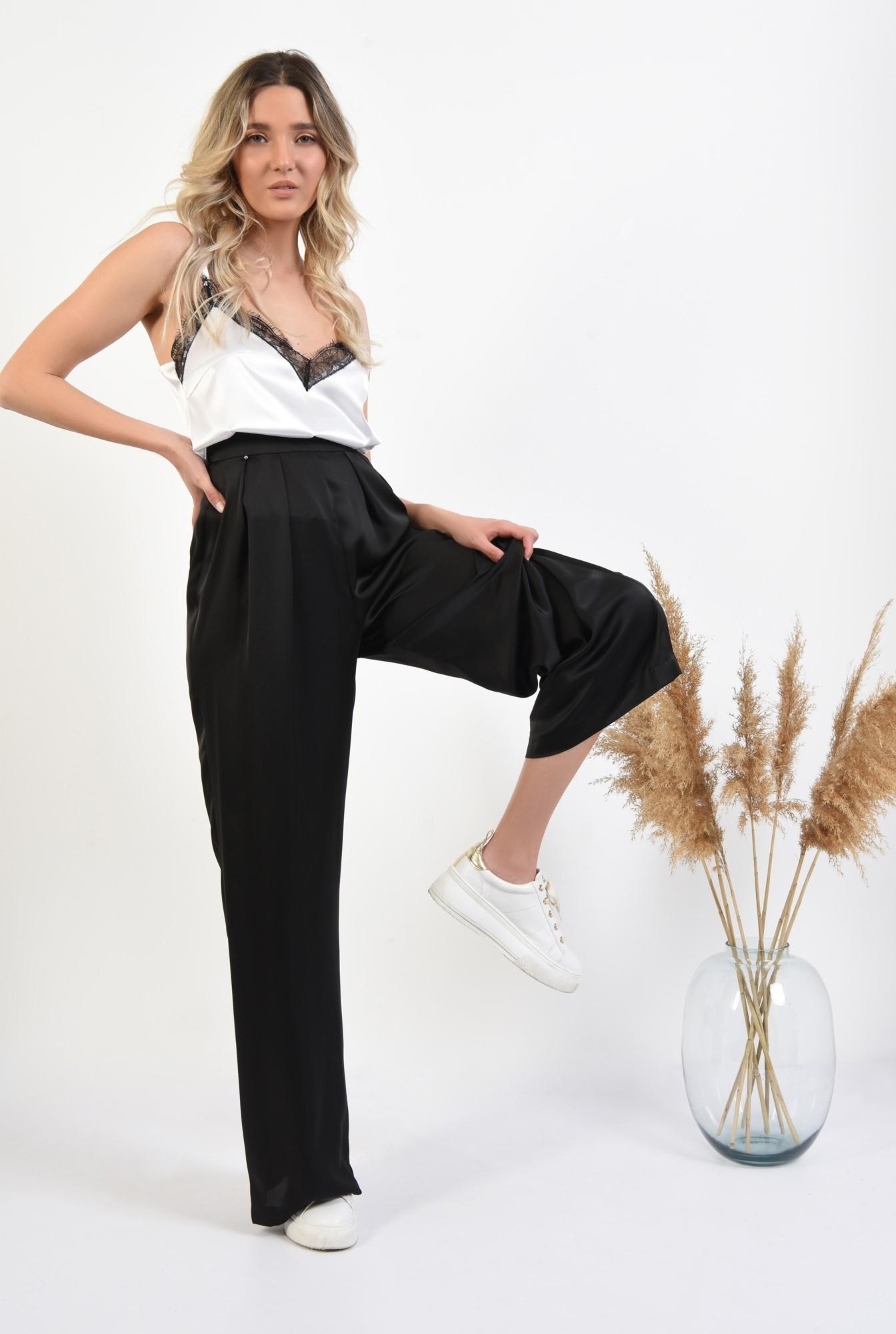 pantaloni eleganti, evazati, cu pliuri, talie inalta, pantaloni de ocazie