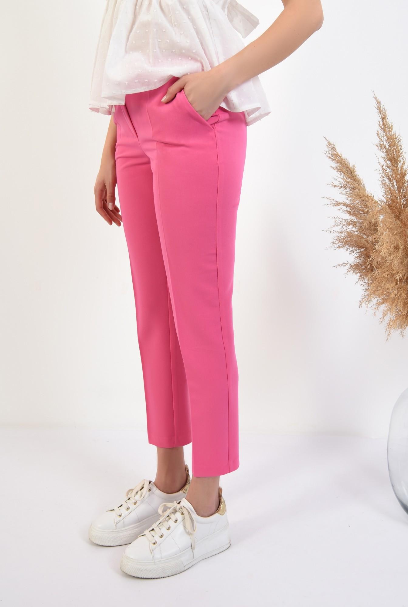 pantaloni ciclamen, conici, talie medie, cu buzunare