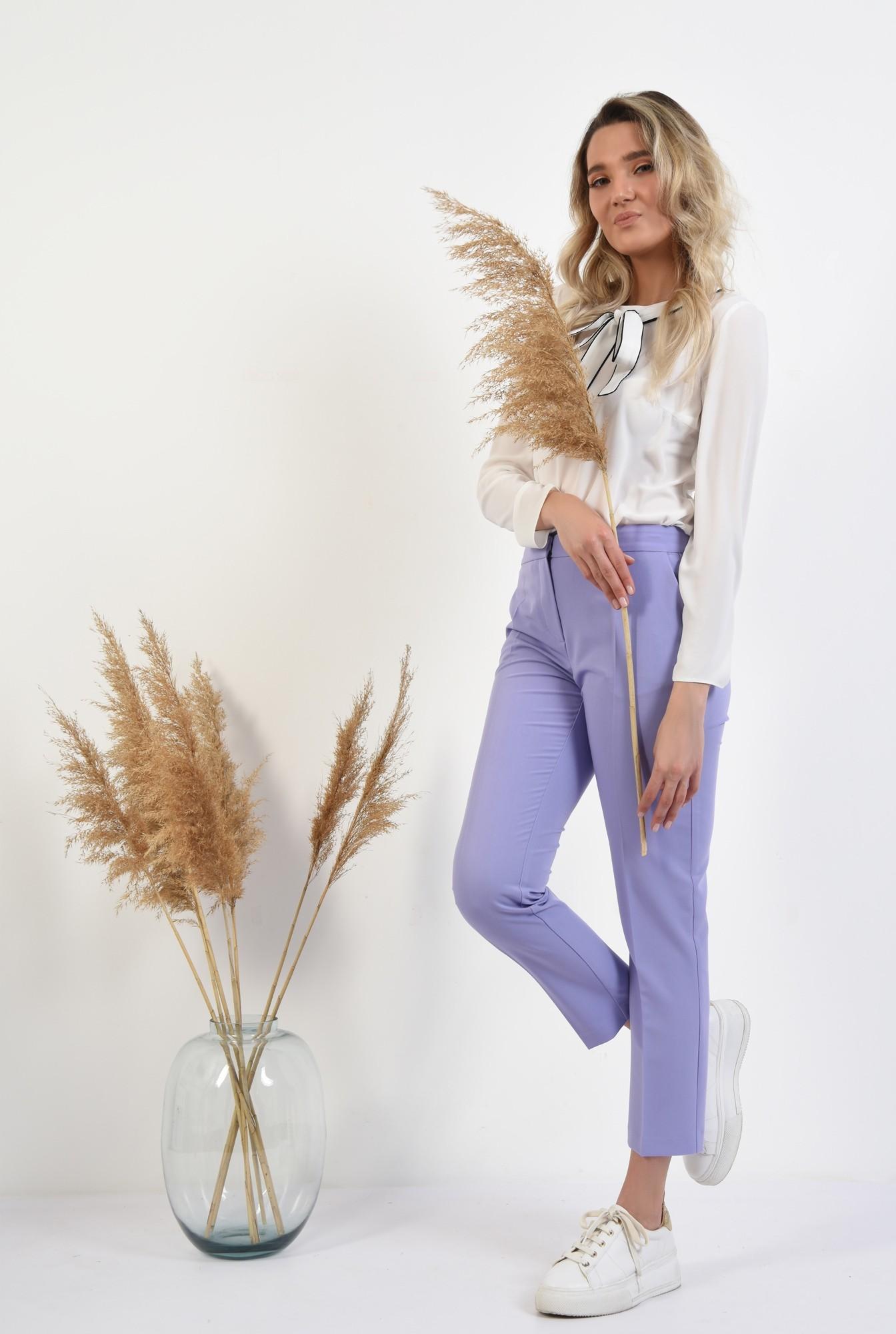 360 - pantaloni lila, conici, talie medie, cu buzunare