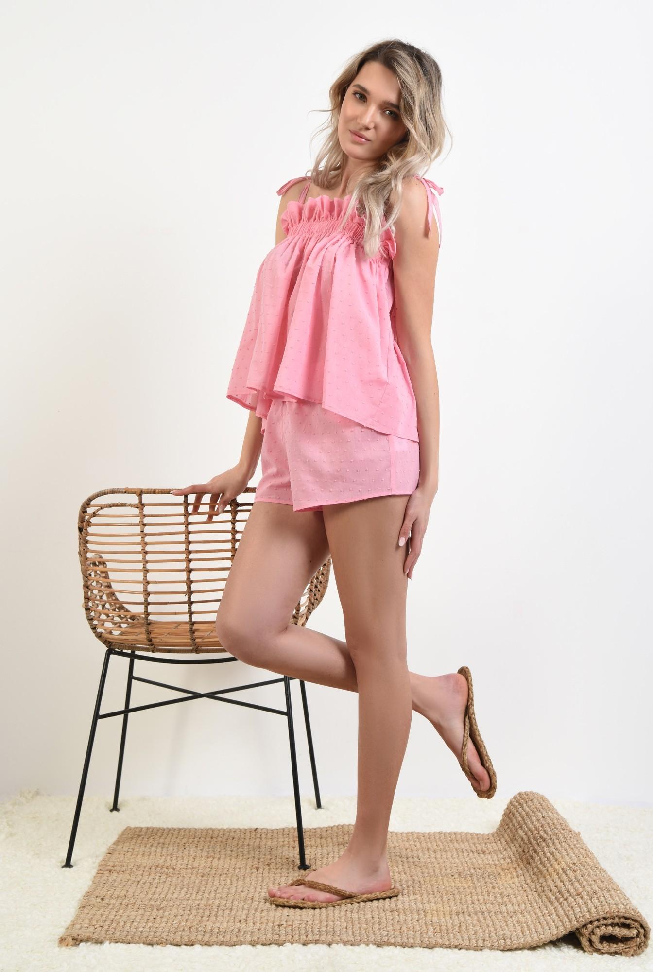 360 - pantaloni scurti, casual, plumeti, roz, sort plumeti