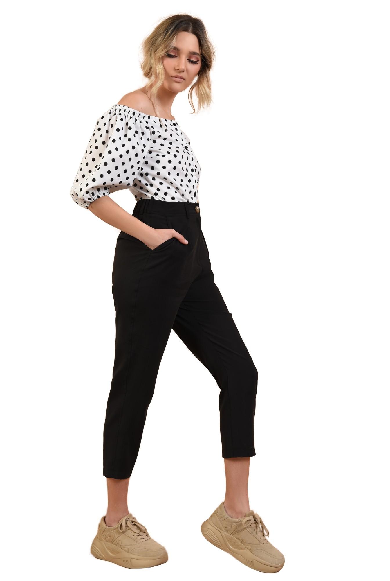 pantaloni casual, conici, cu pense, negru, cu buzunare