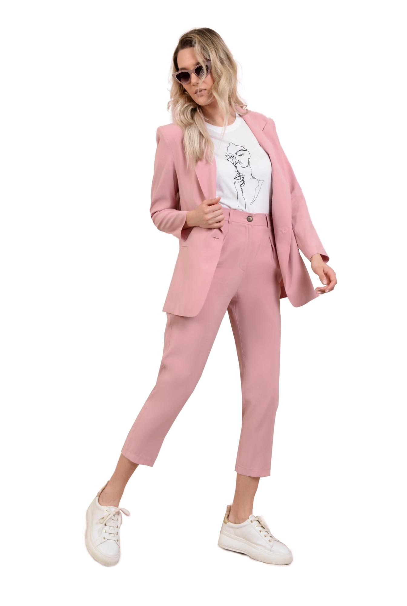 pantaloni casual, roz, conici, cu pense, cu buzunare