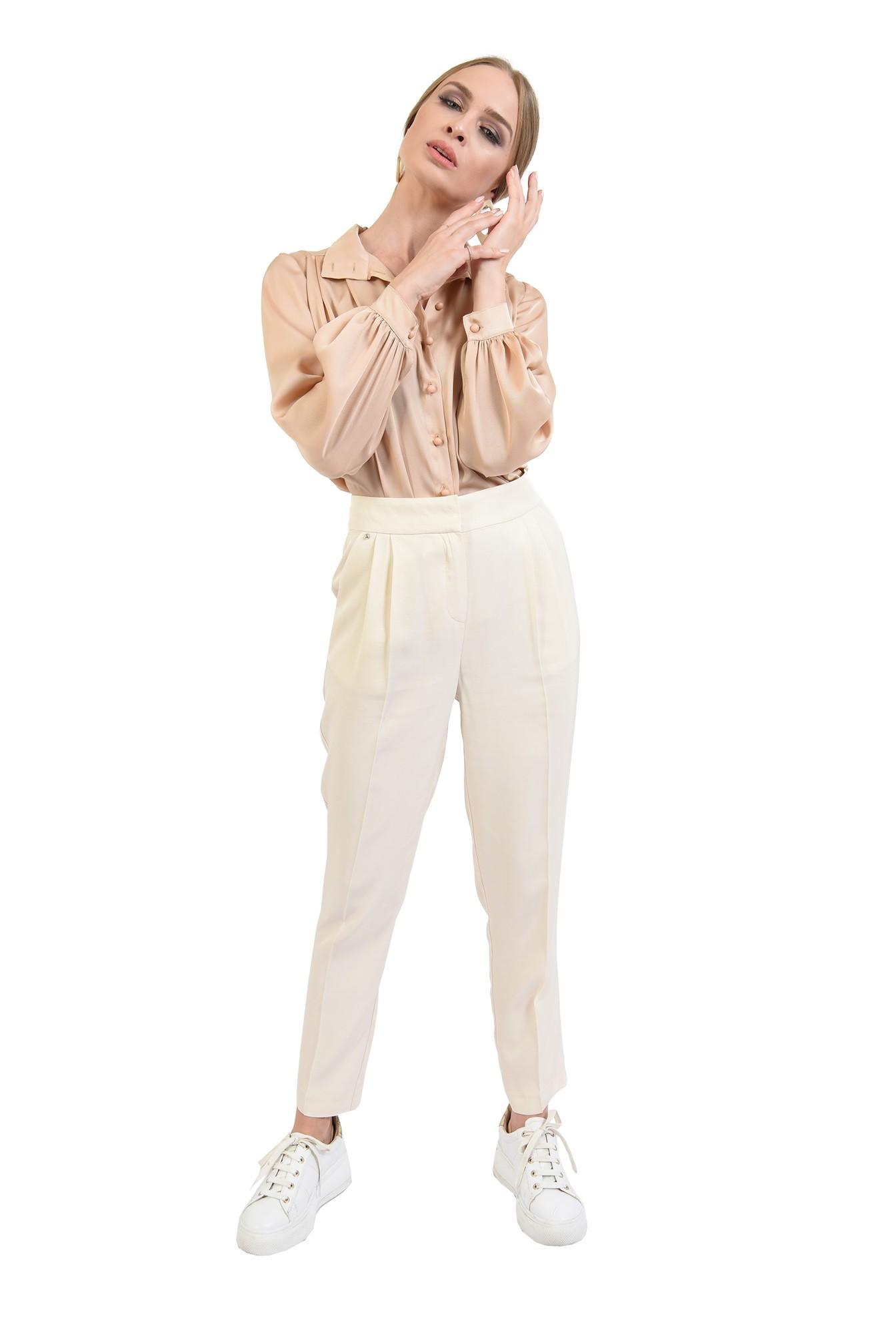 360 - pantaloni casual, crem, conici, cu pense, Poema