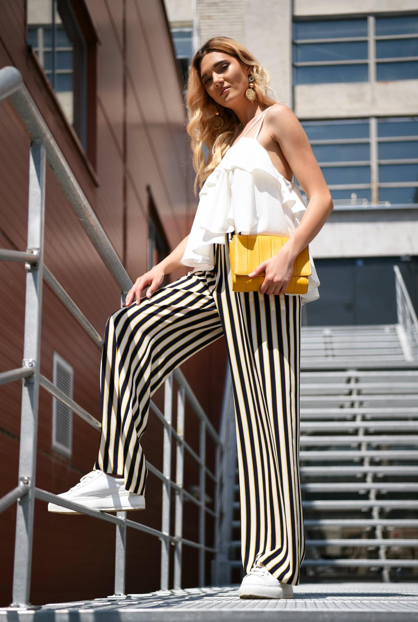 360 - pantaloni de zi, croi larg, dungi multicolore, betelie elastica
