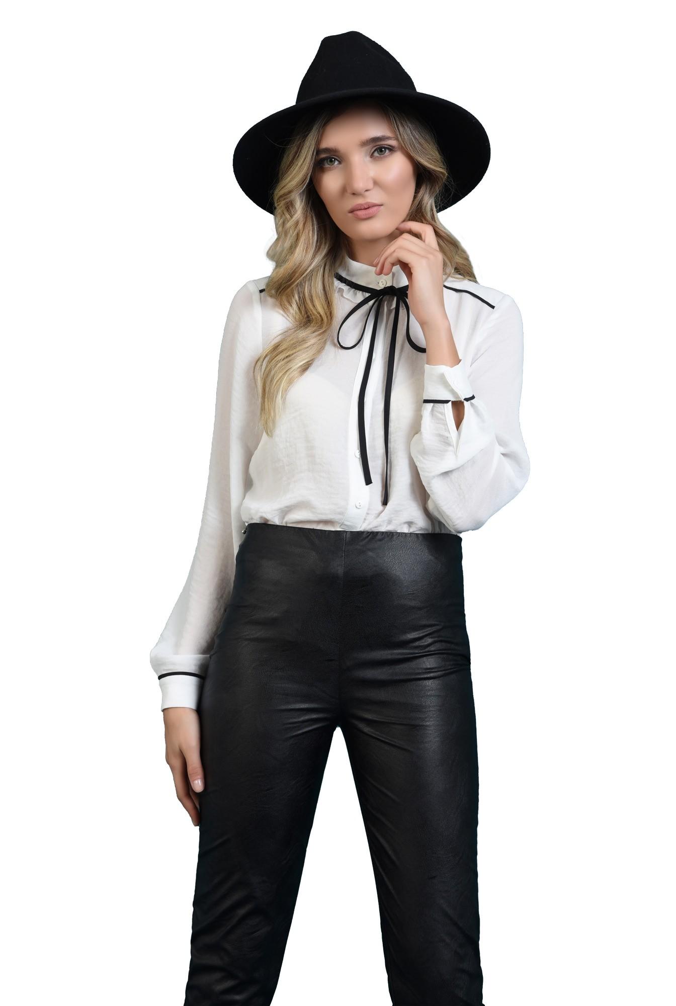pantaloni negri, cu talie medie, conici, Poema