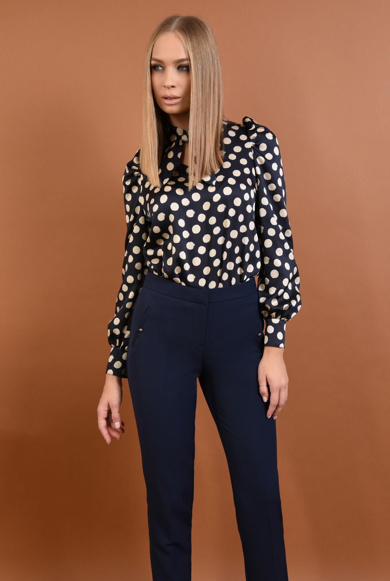 pantaloni conici, talie medie, bleumarin, buzunare