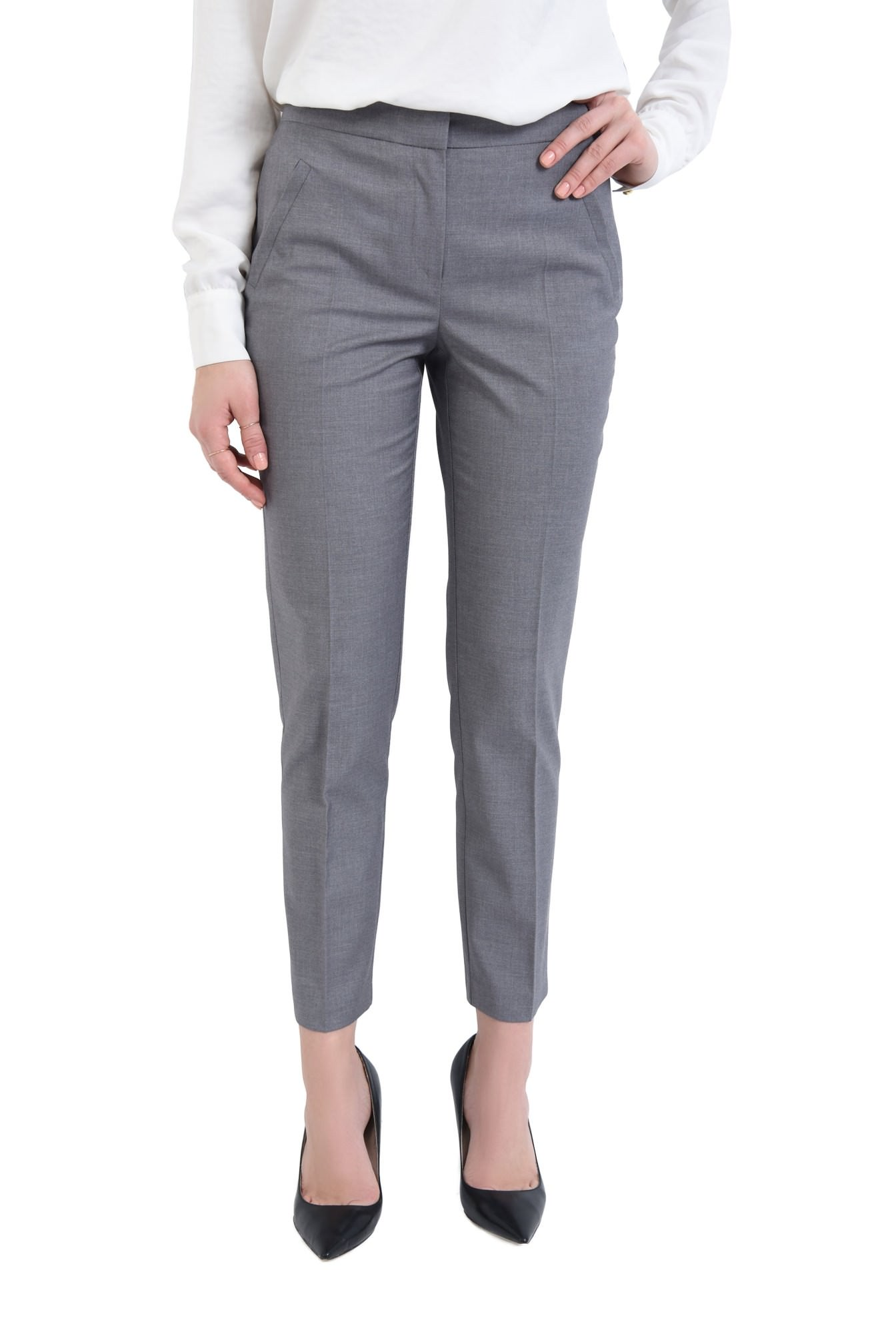 Pantaloni casual, talie inalta, betelie