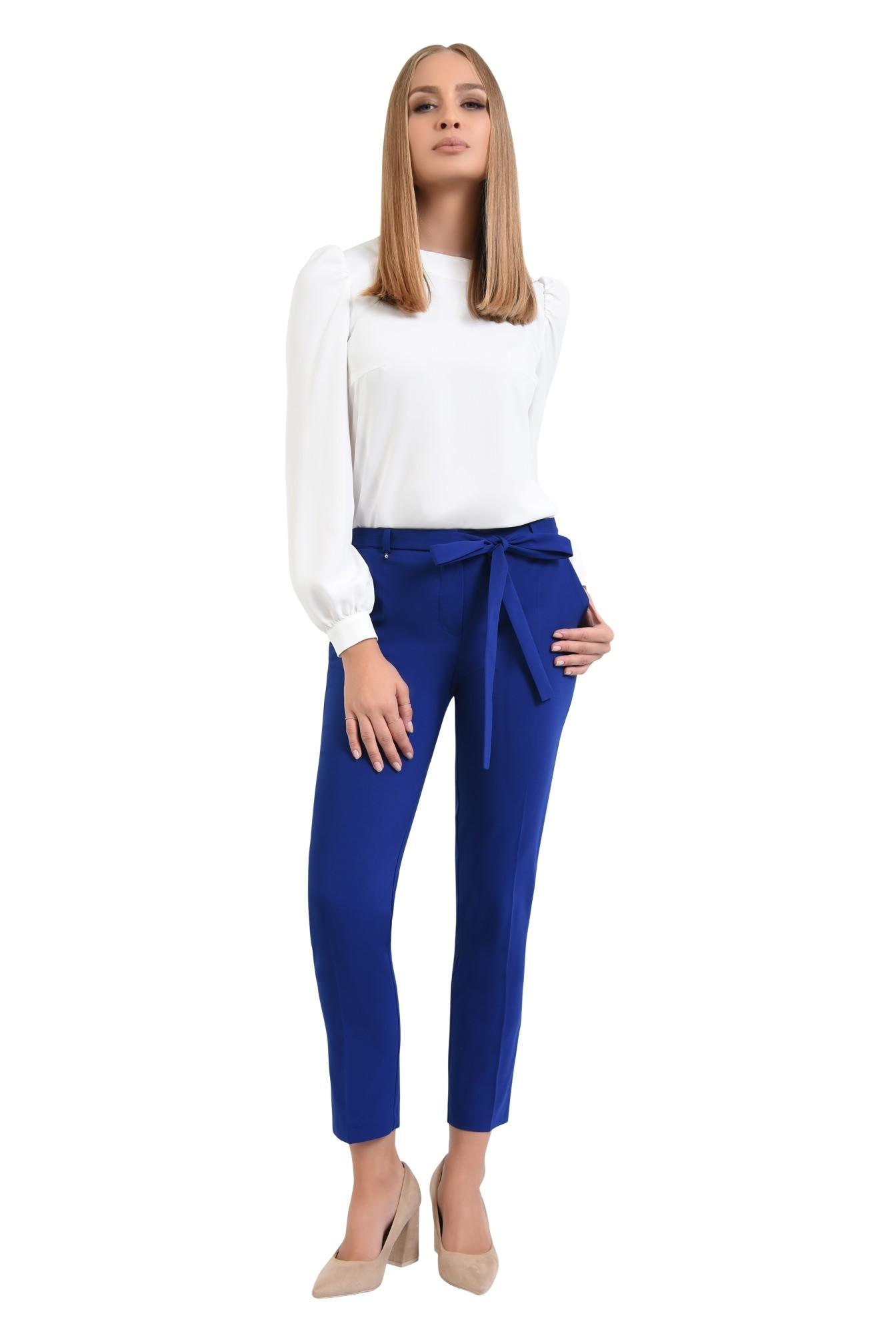 pantaloni casual, conici, albastru, cu cordon