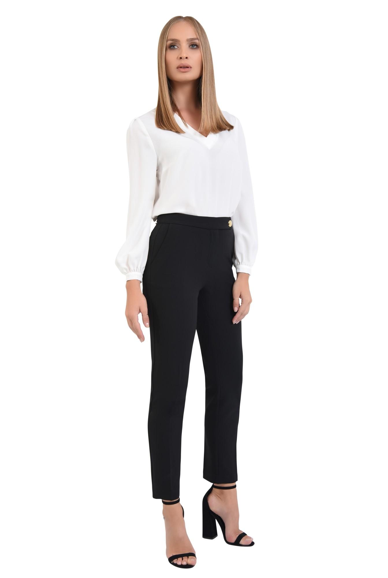 pantaloni casual, croi conic, negru, nasture auriu