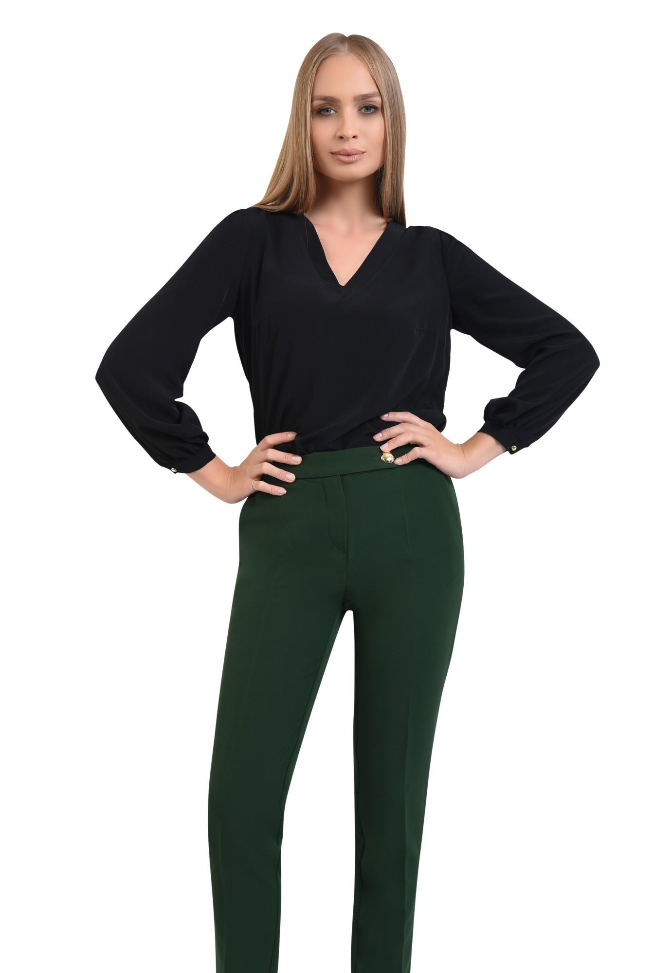 pantaloni casual, verde, croi conic, talie medie