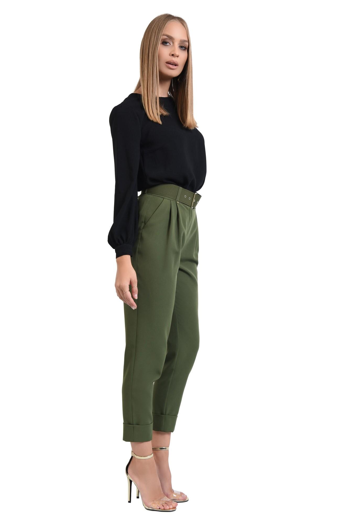 pantaloni de dama, pantaloni online, verde kaki, curea, mansete