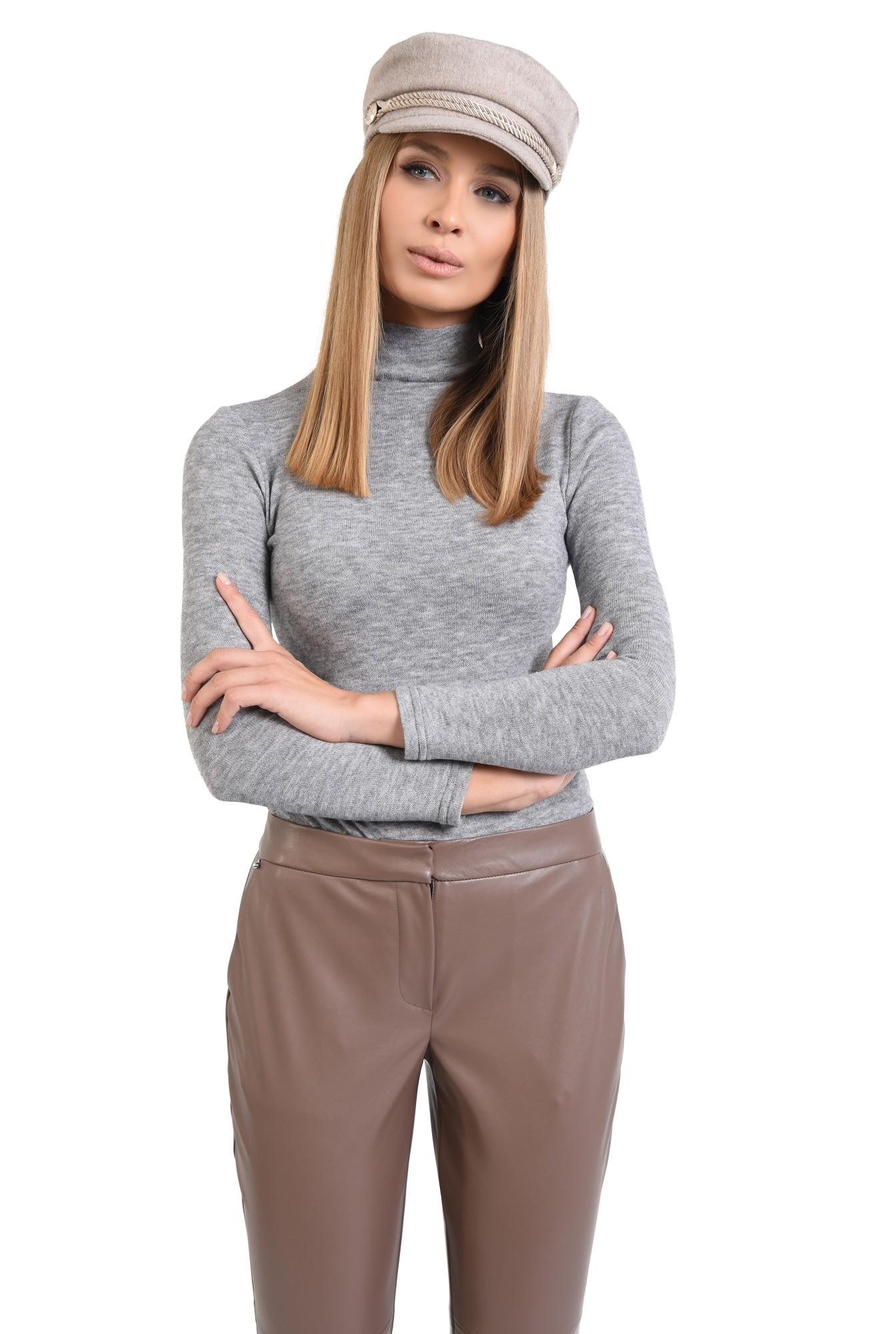 pantaloni casual, pana, piele eco, talie medie