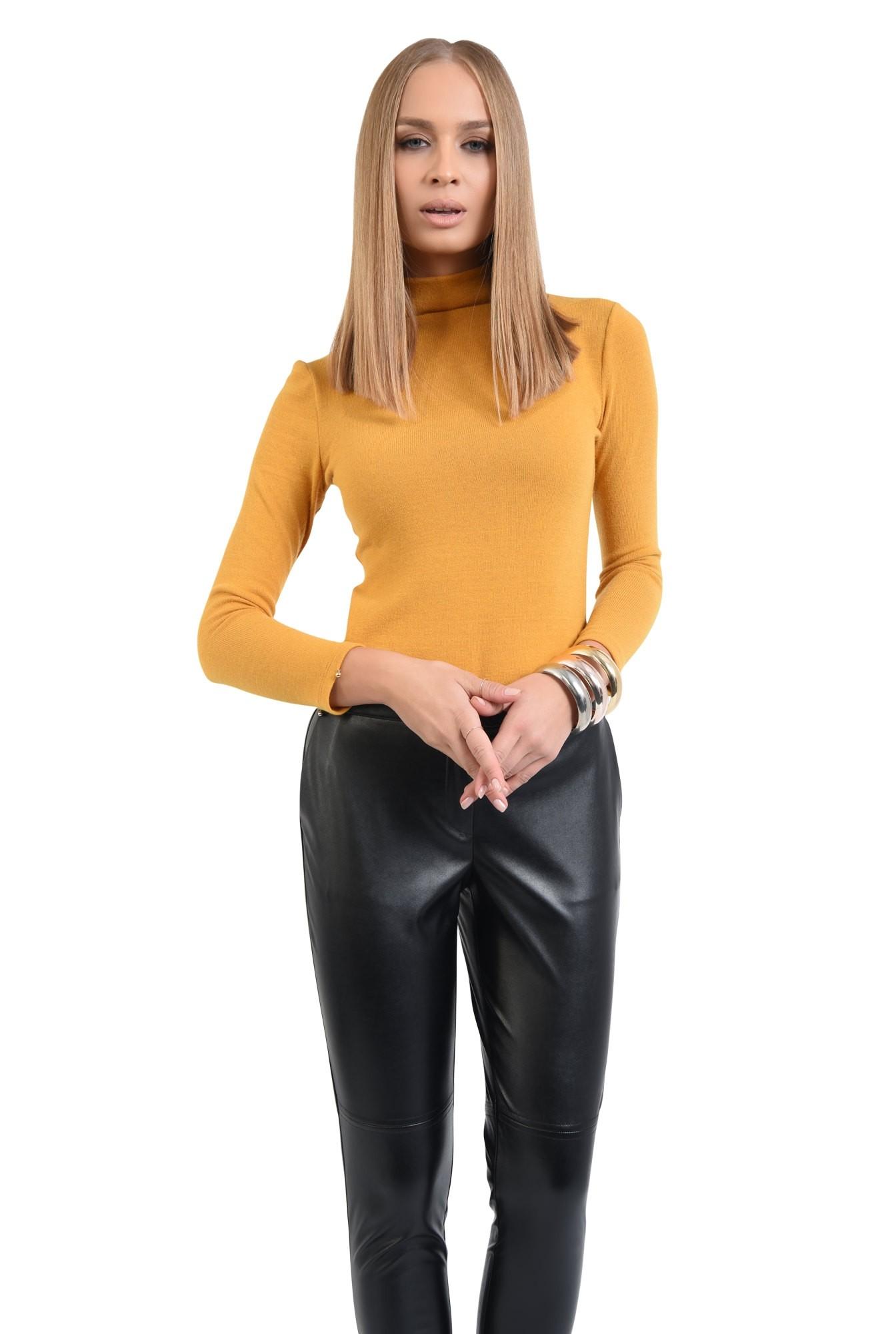 pantaloni casual, cusatura decorativa, buzunare functionale, negri, PU
