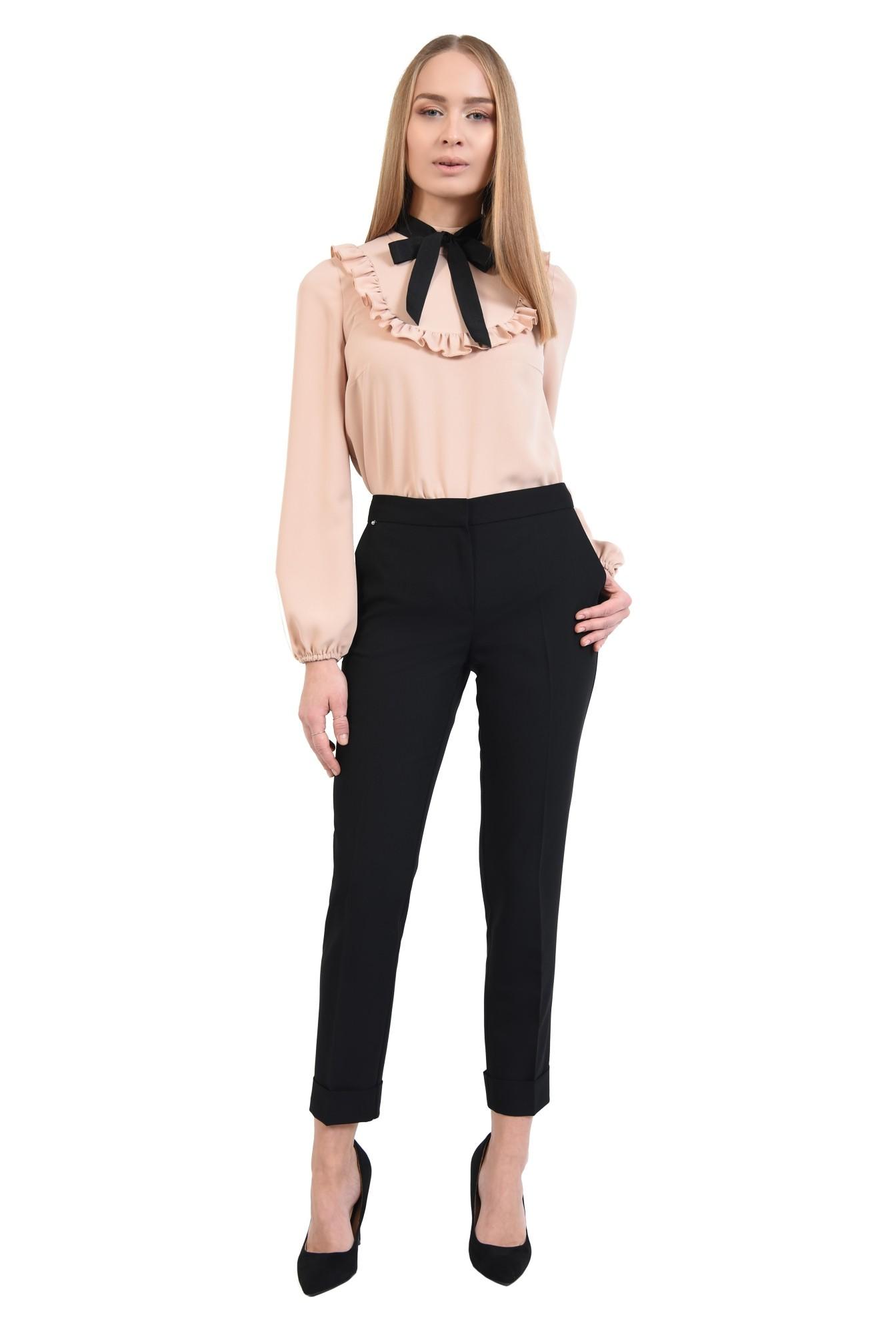 pantaloni tigareta, cu mansete, cu talie medie, buzunare