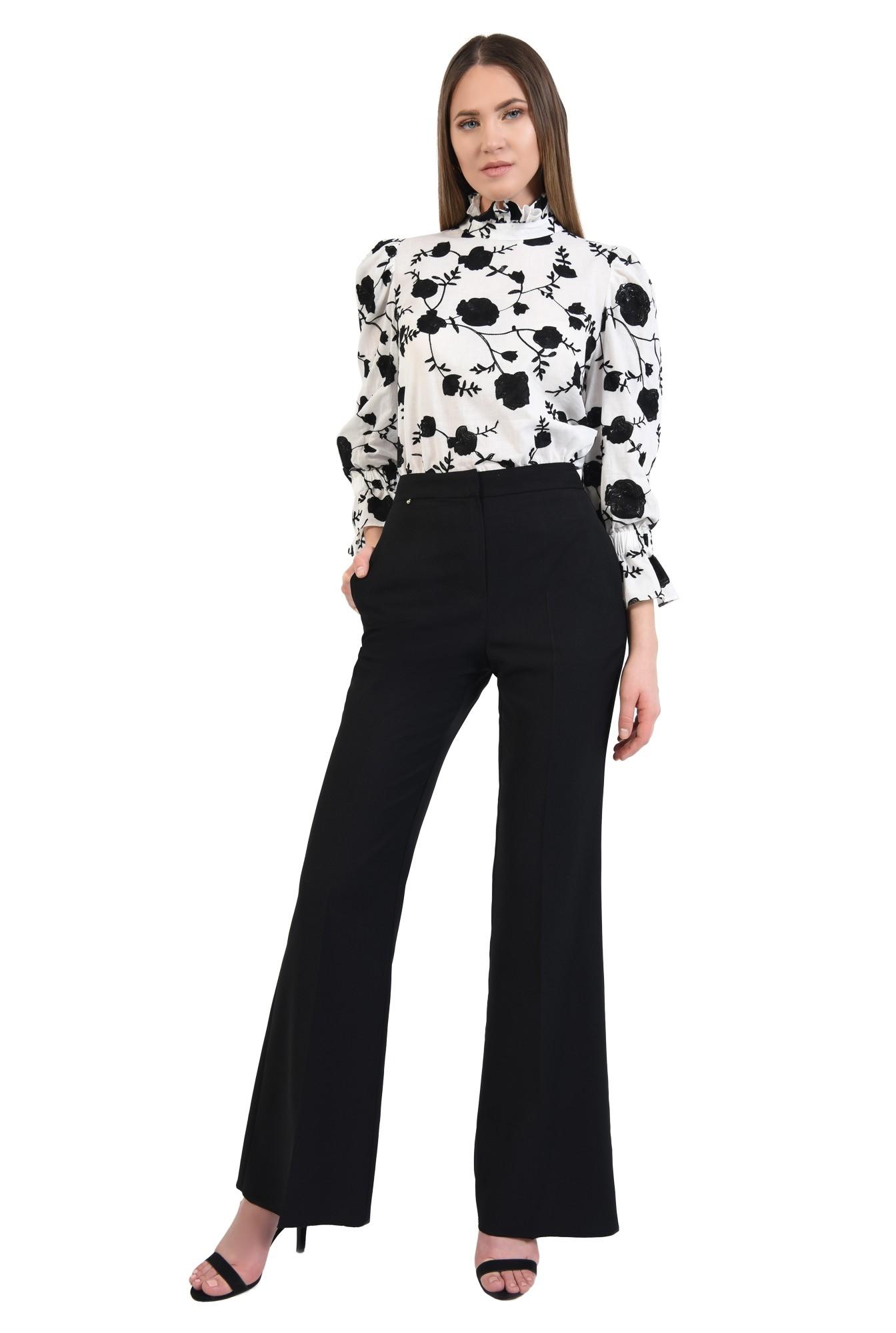 pantaloni negri, wide-leg, talie cu betelie, buzunare