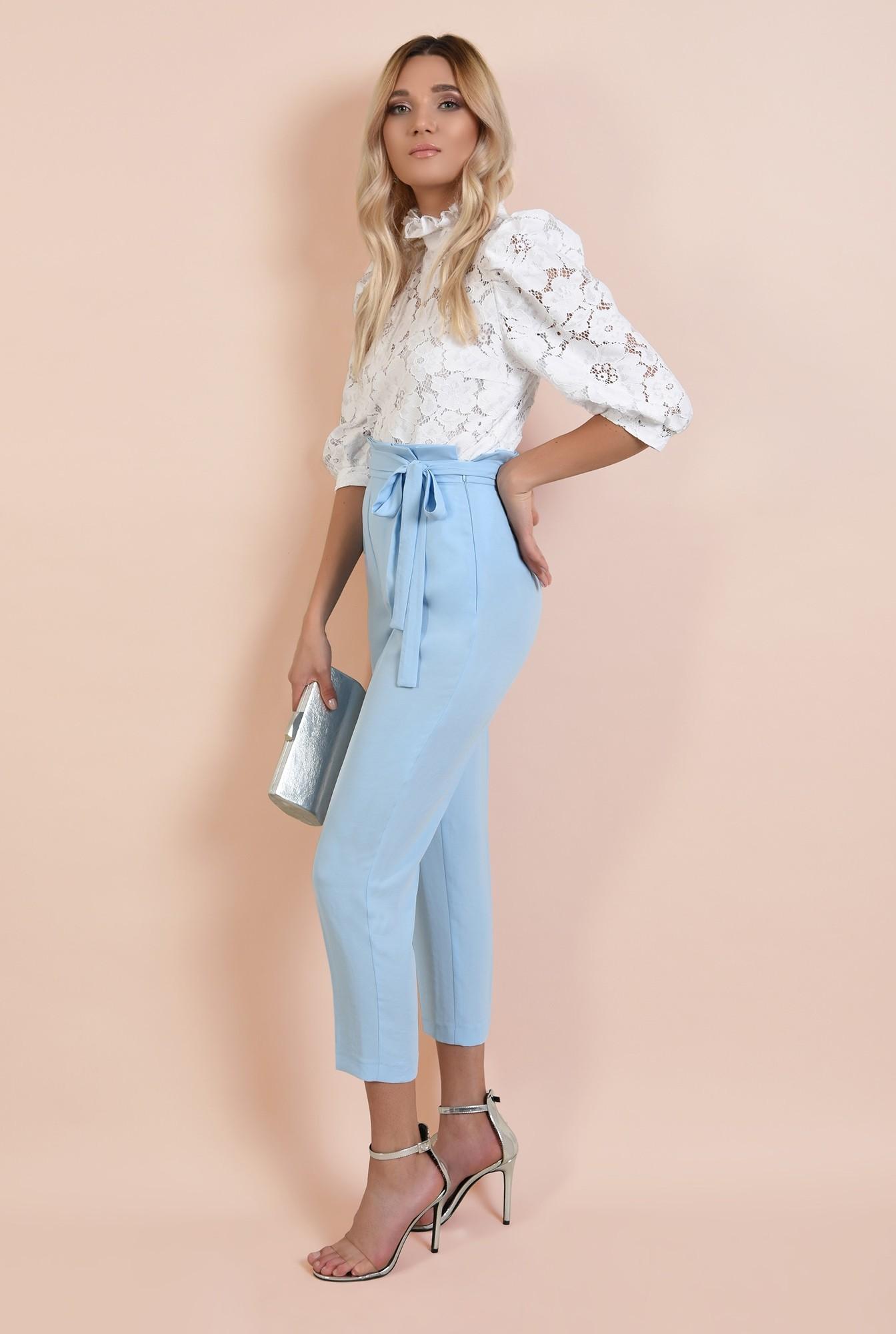 pantaloni eleganti, bleu, lungi, cu cordon, betelie plisata, Poema
