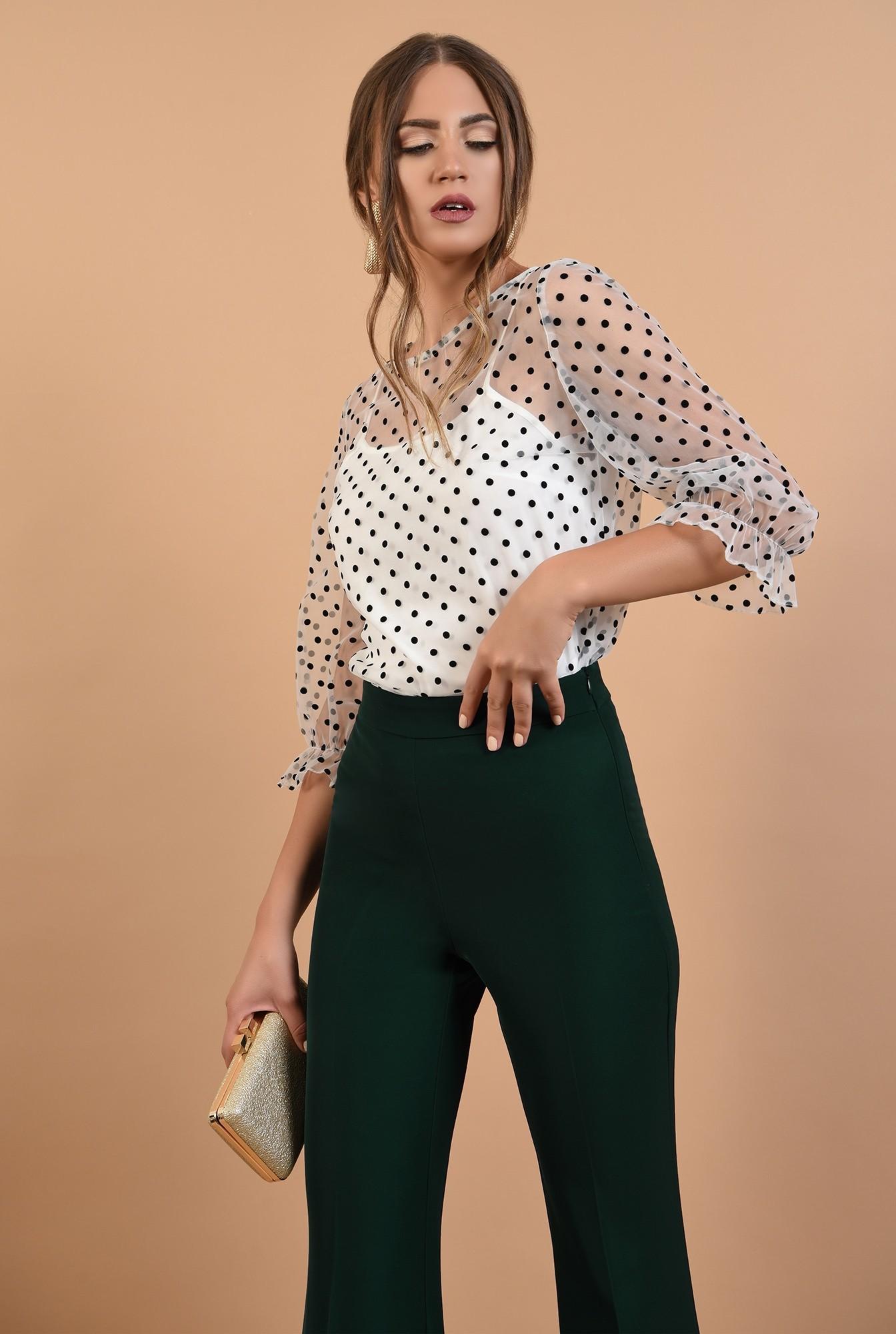 pantaloni de seara, croi evazat, cu talie inalta, verde inchis