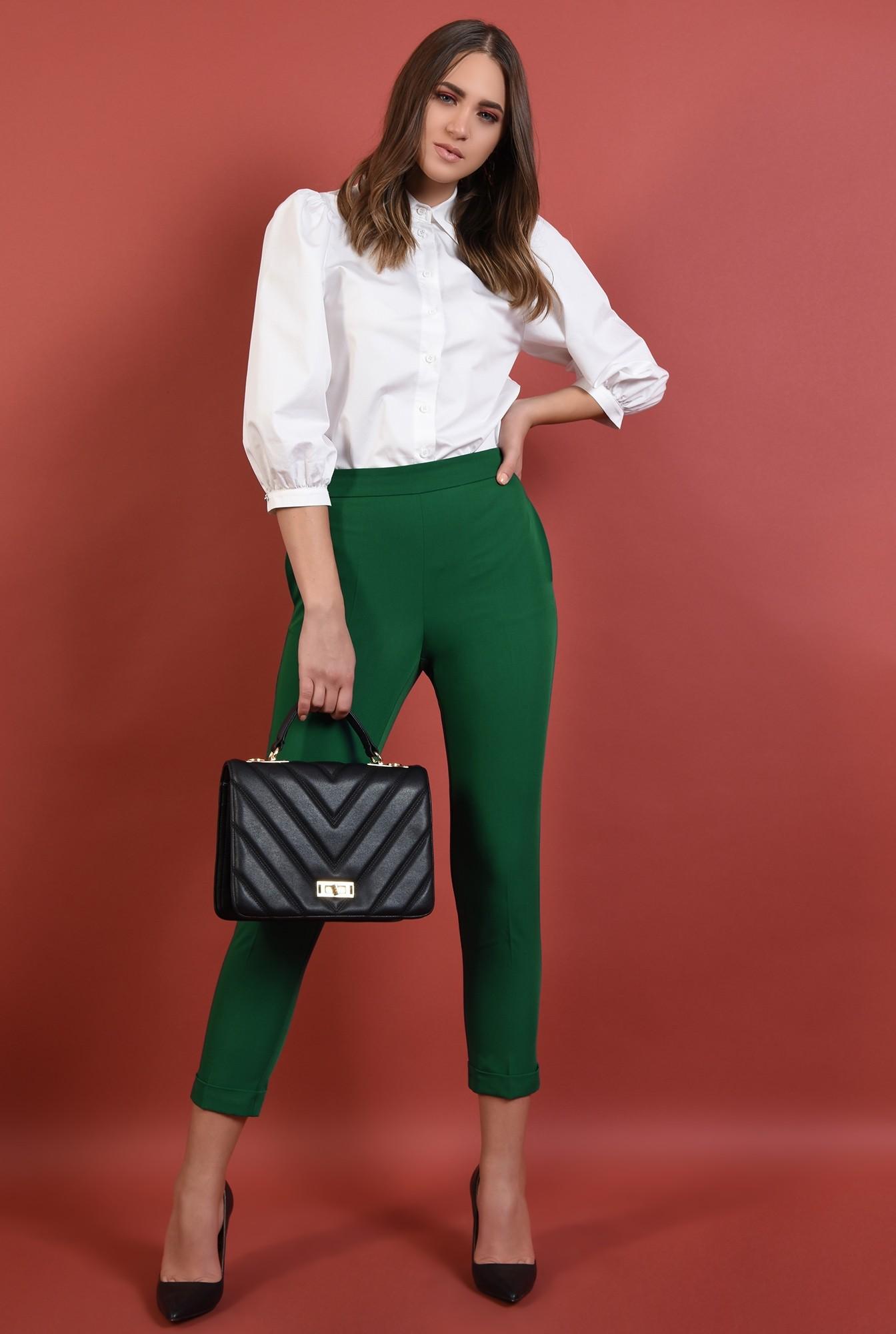 pantaloni verzi, conici, cu buzunare, talie medie, cu mansete