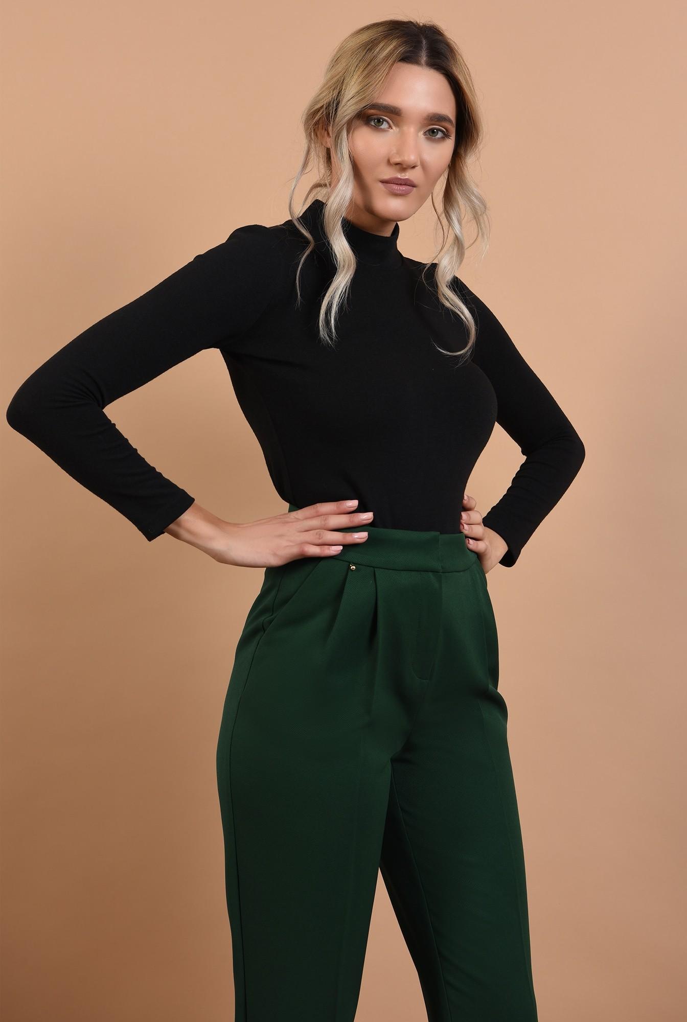 pantaloni verzi, conici, cu buzunare, talie inalta, cu pense