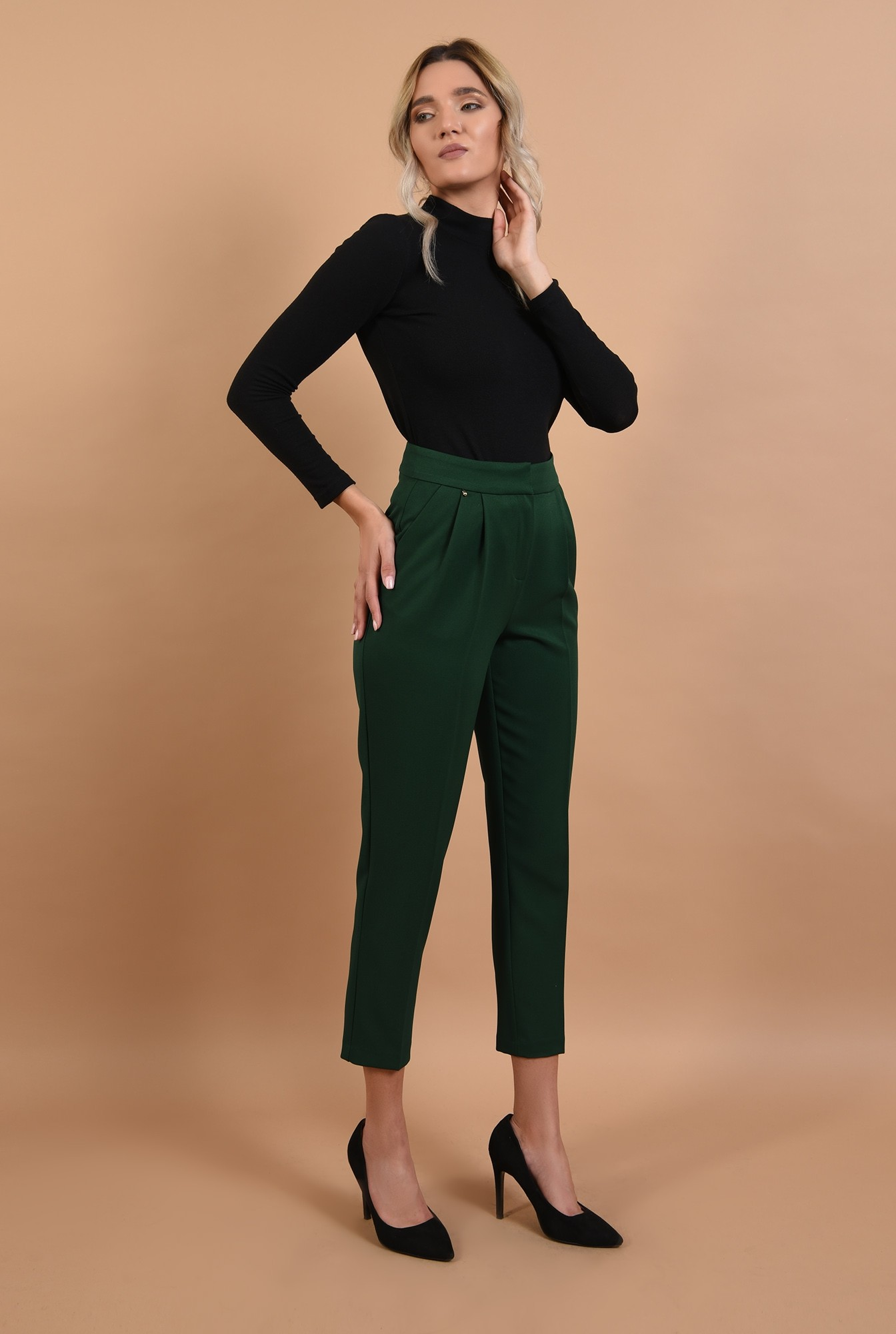 360 - pantaloni conici, verzi, talie medie, croi la dunga