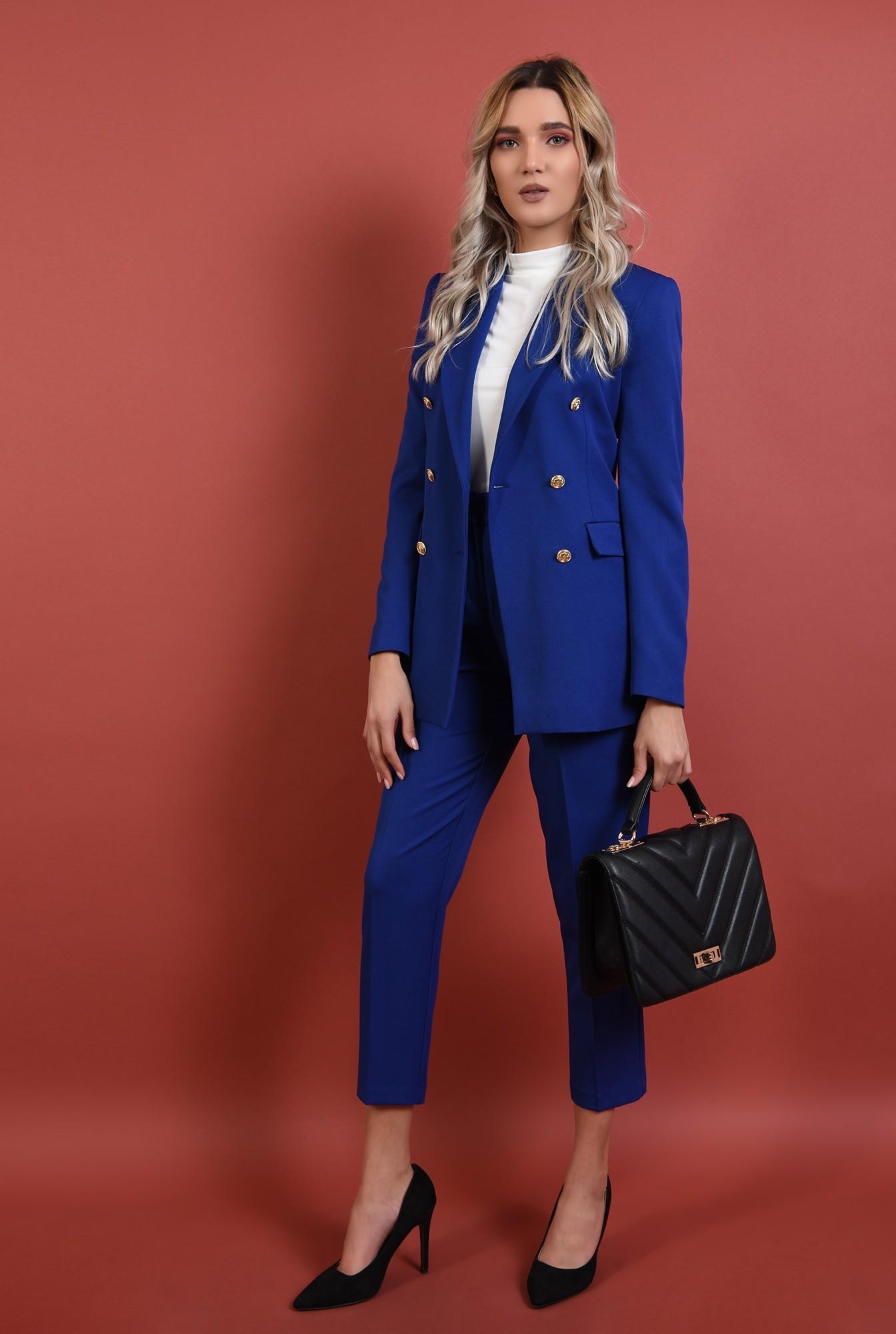 360 - pantaloni conici, albastri, talie medie, croi la dunga
