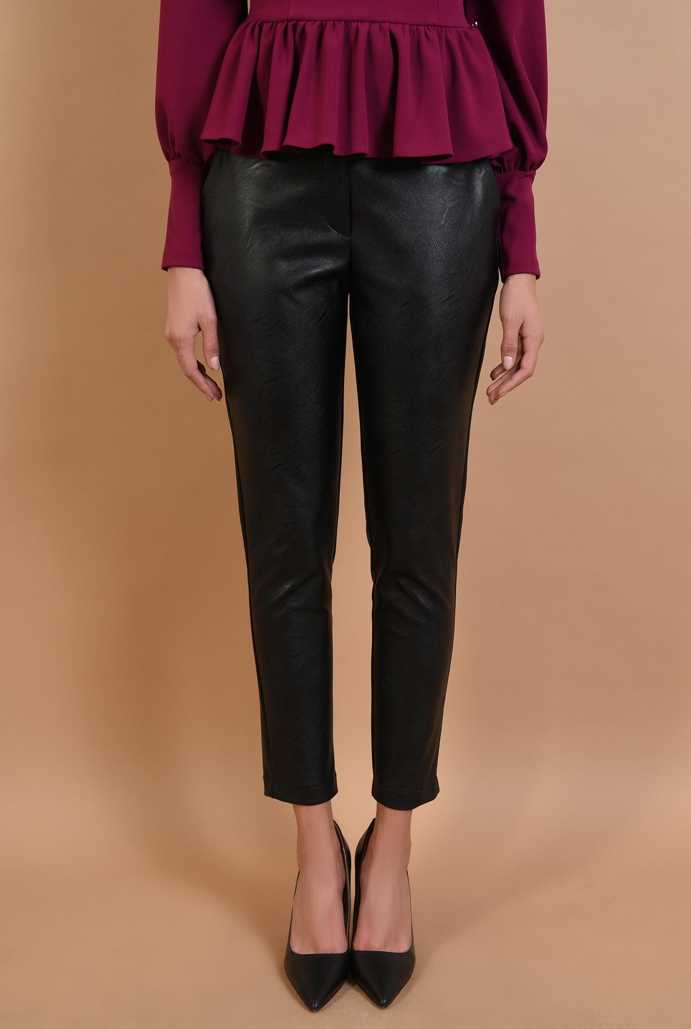 pantaloni negri, lungi, croi conic, talie medie